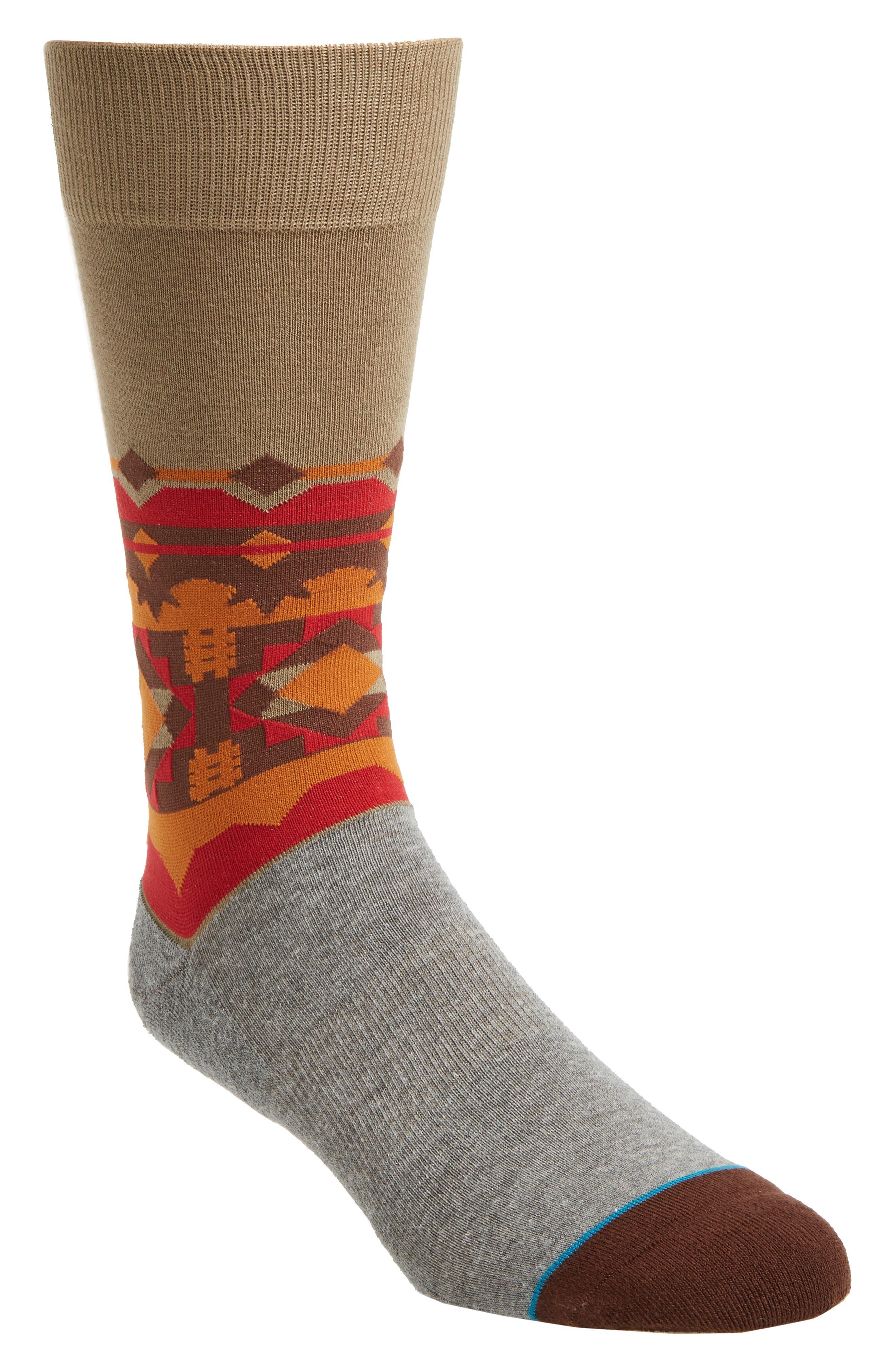 Sinaloa Socks,                             Main thumbnail 1, color,                             Red/ Olive