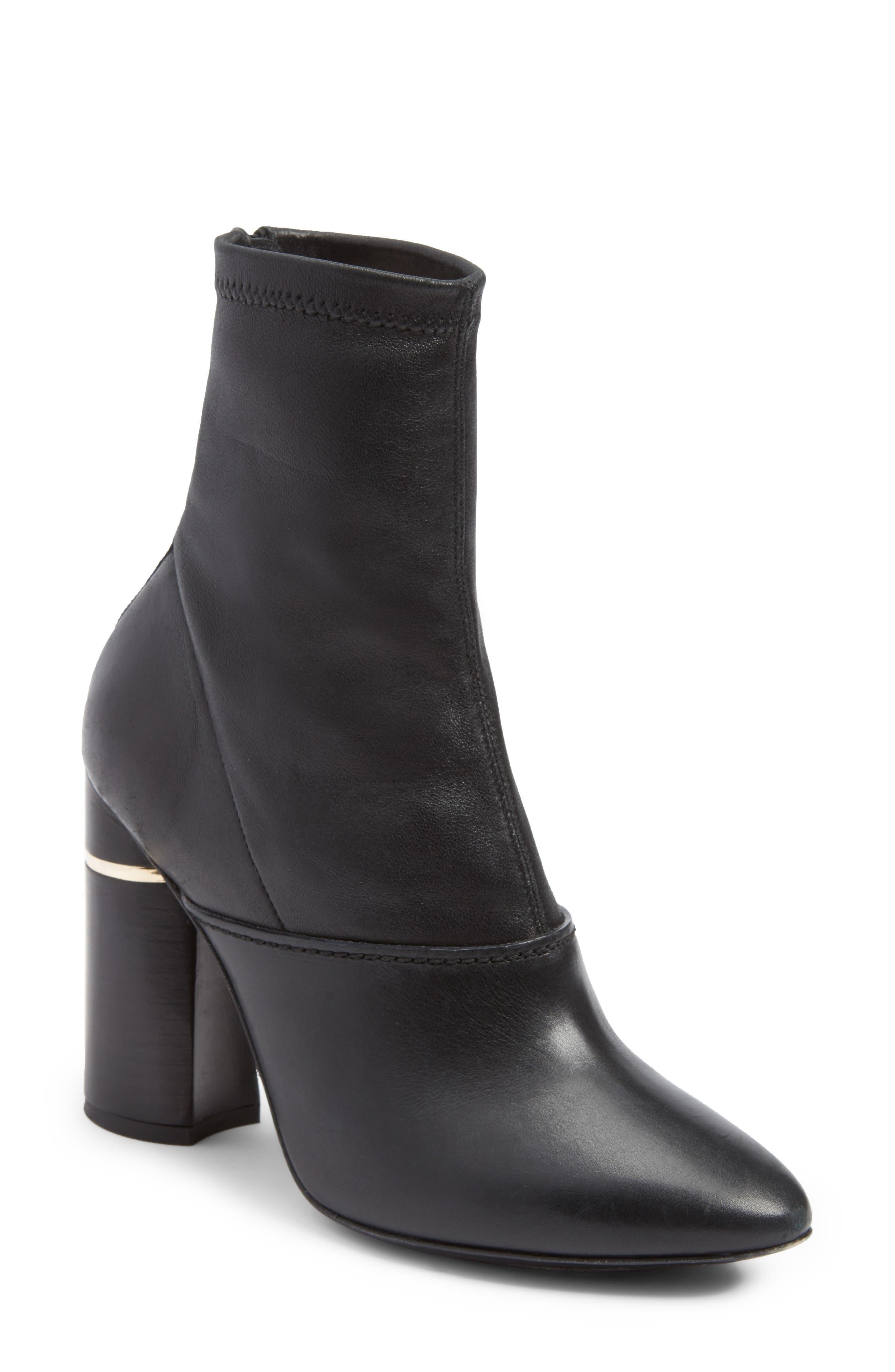 Kyoto Leather Bootie,                         Main,                         color, Black