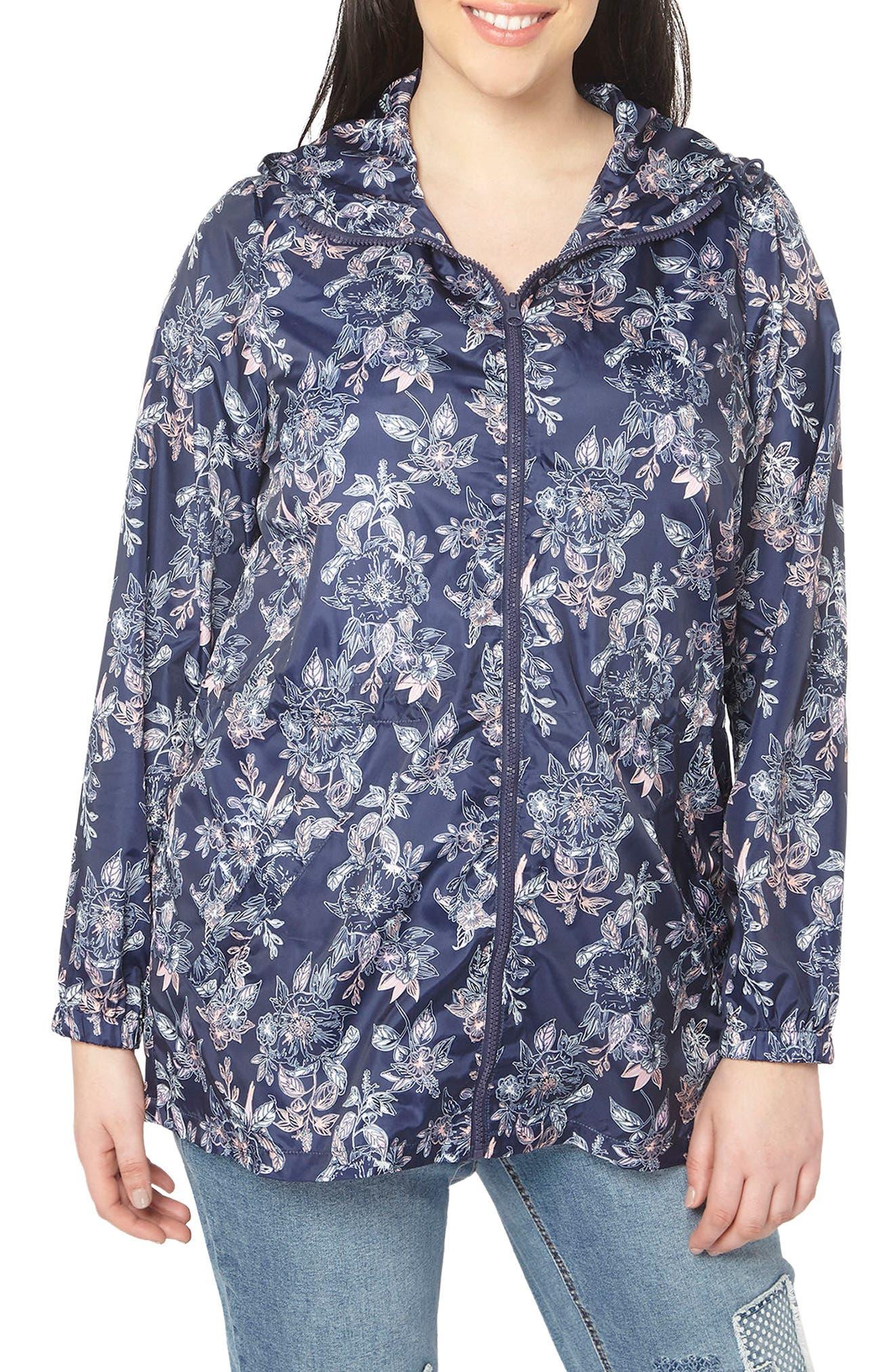 Floral Print Rain Jacket,                         Main,                         color, Navy