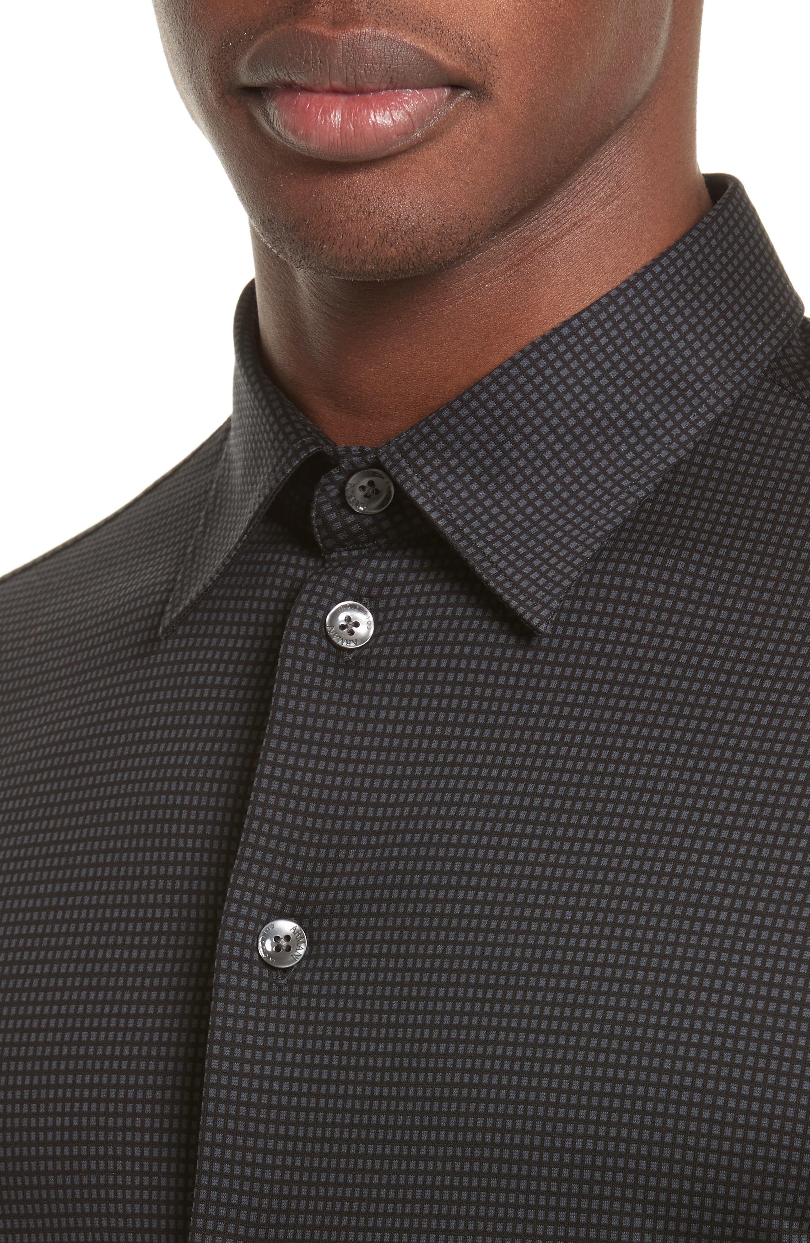 Neat Check Woven Sport Shirt,                             Alternate thumbnail 4, color,                             Checked Black