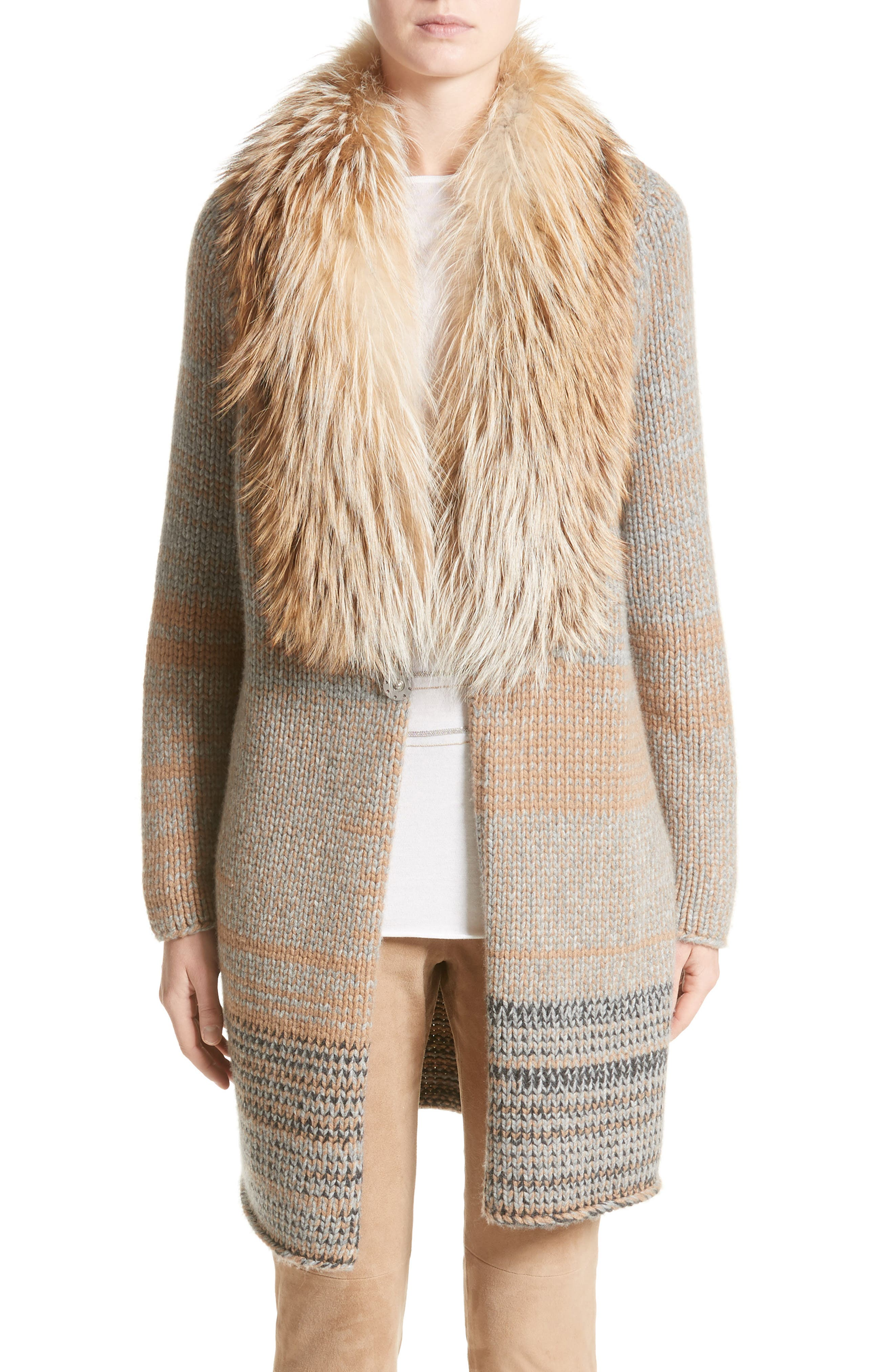 Cashmere Cardigan with Removable Genuine Fox Fur Collar,                             Main thumbnail 1, color,                             Camel / Grey Multi