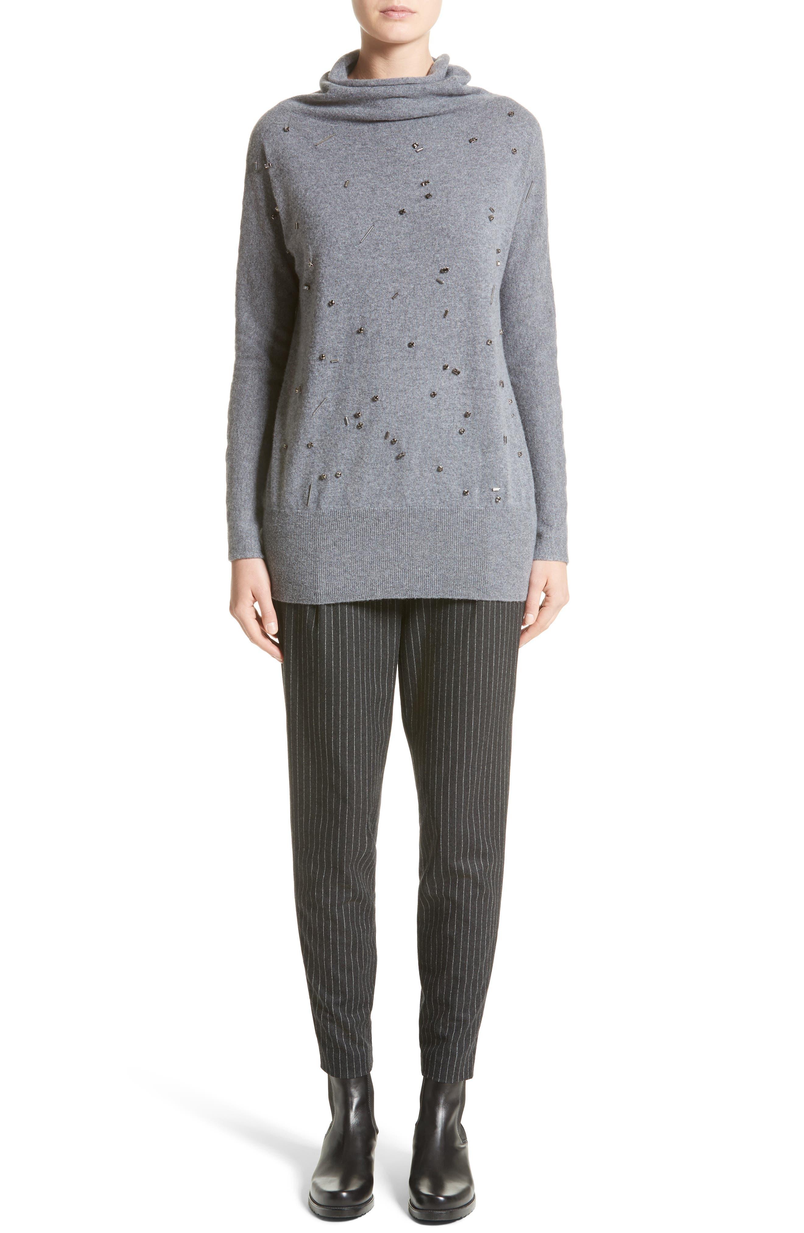 Embellished Cashmere Turtleneck Sweater,                             Alternate thumbnail 7, color,                             Grey