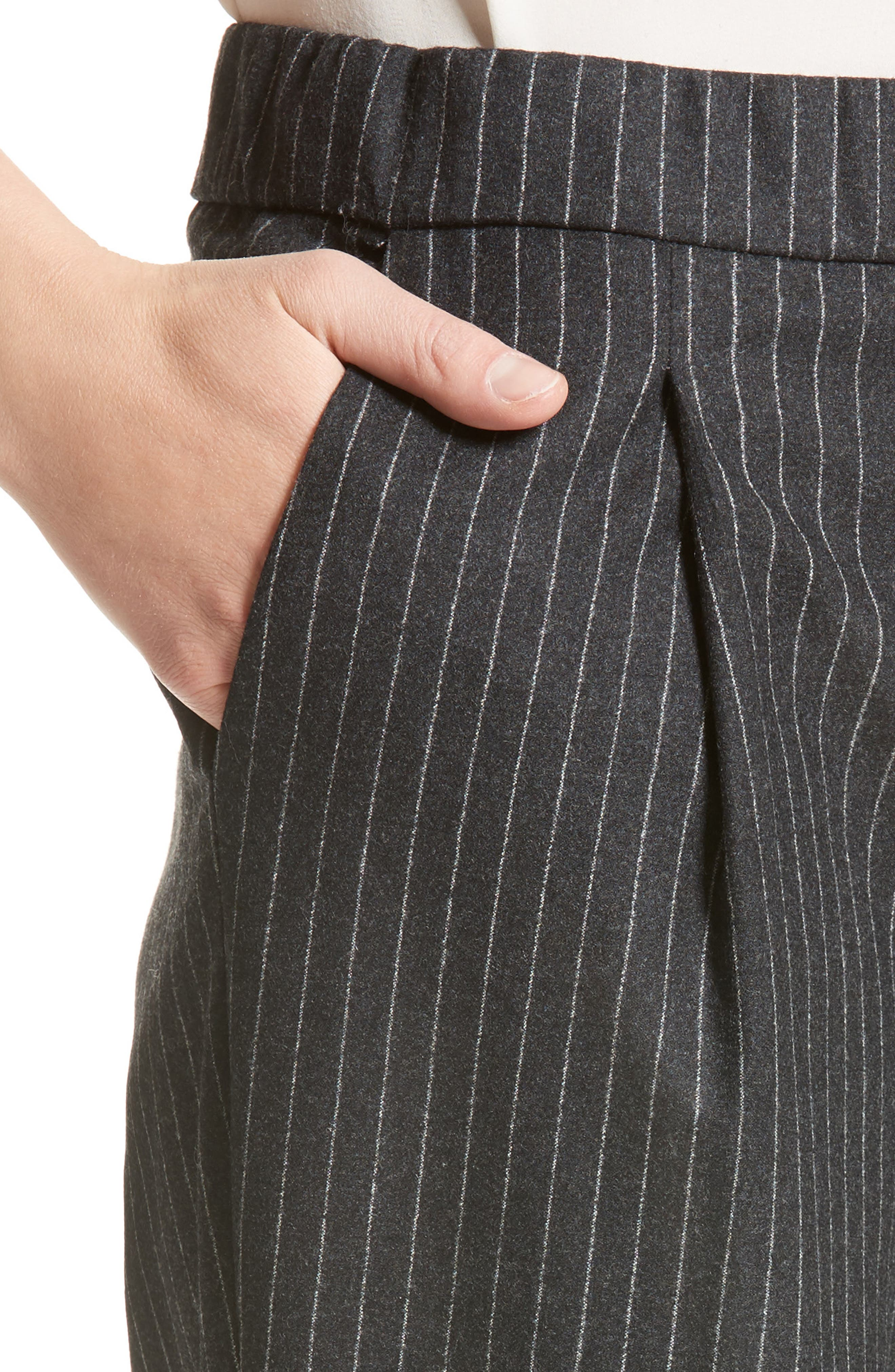 Pinstripe Wool Flannel Pants,                             Alternate thumbnail 6, color,                             Charcoal