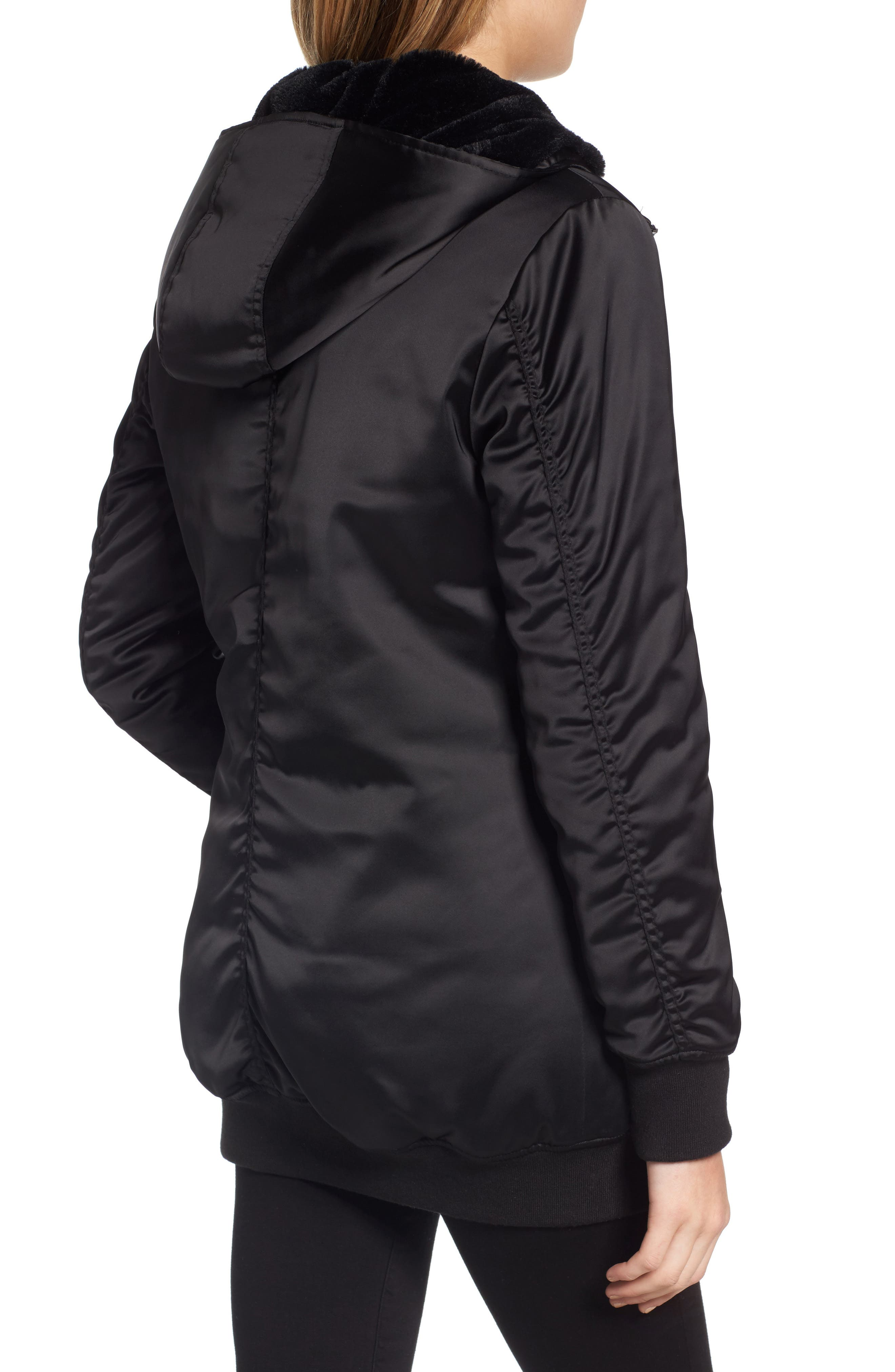 Alternate Image 2  - Maralyn & Me Longline Hooded Bomber Jacket