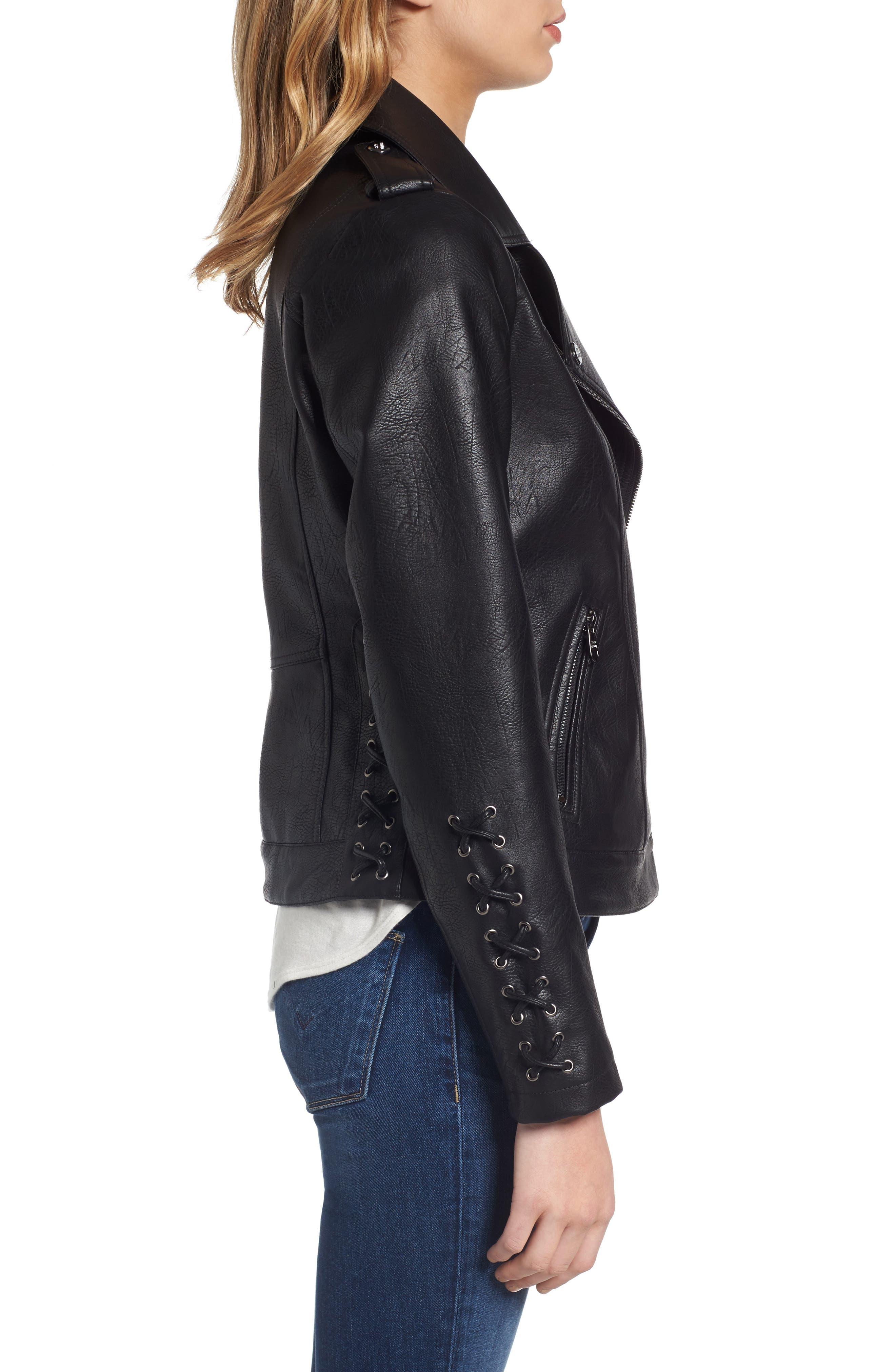 Lace Detail Faux Leather Biker Jacket,                             Alternate thumbnail 3, color,                             Black