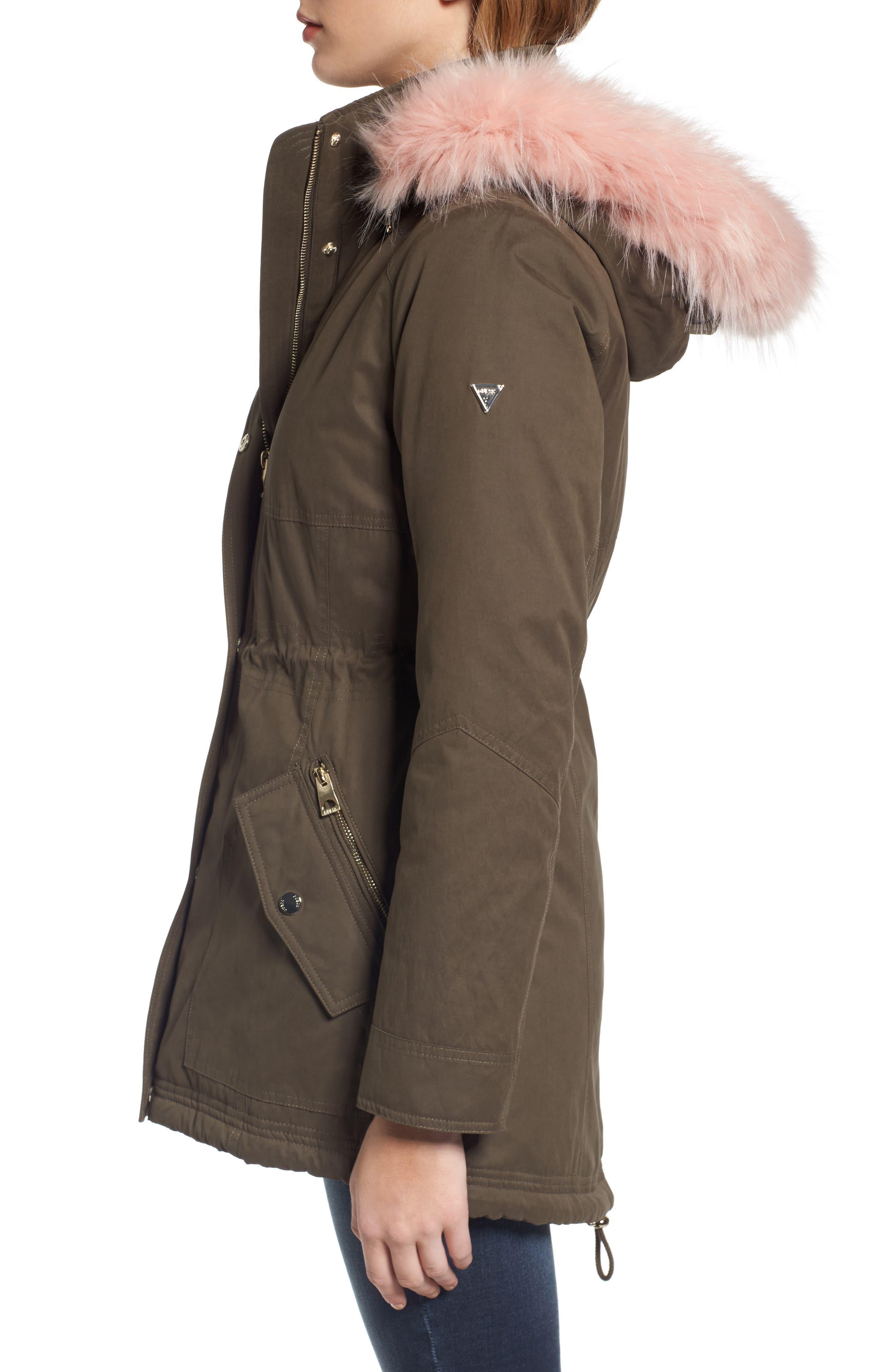 Parka with Removable Faux Fur Trim Hood,                             Alternate thumbnail 3, color,                             Olive/ Pink Fur