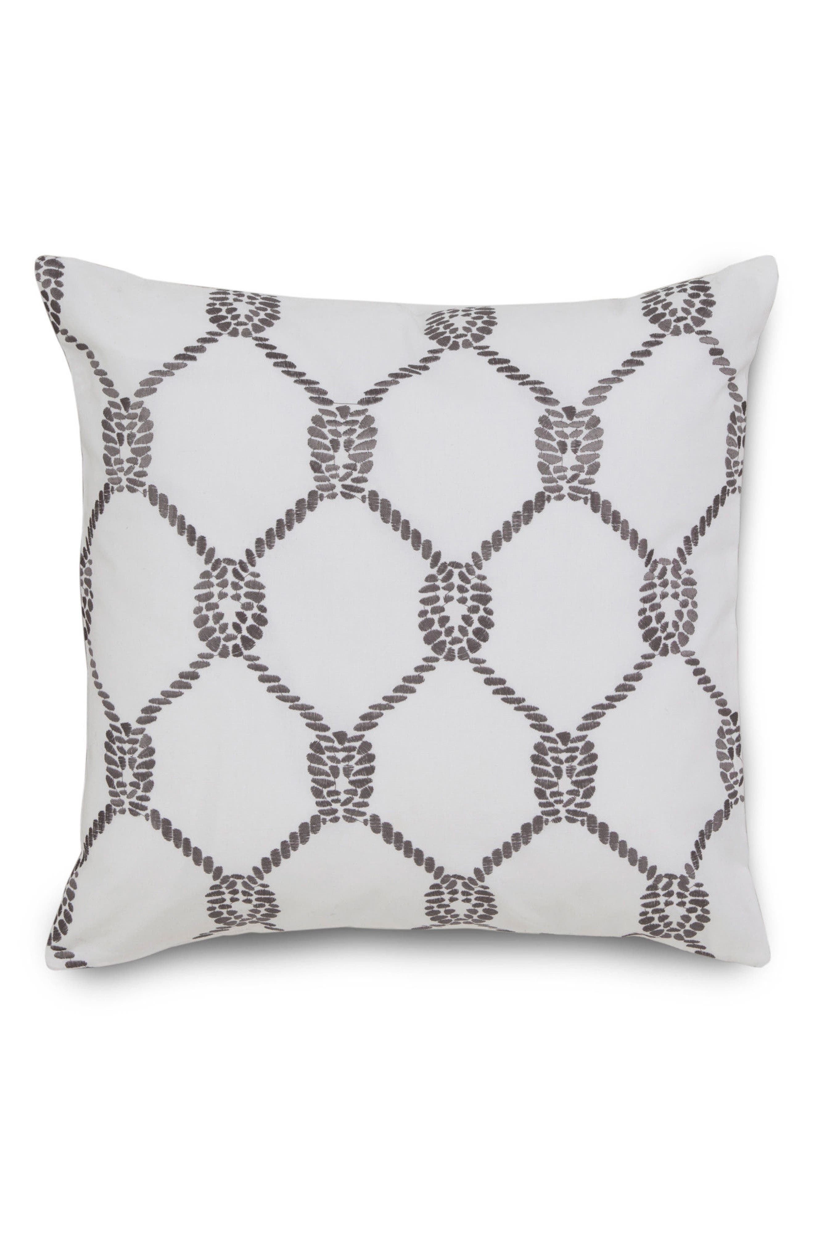 Breakwater Embroidered Rope Accent Pillow,                         Main,                         color, Nautical Grey