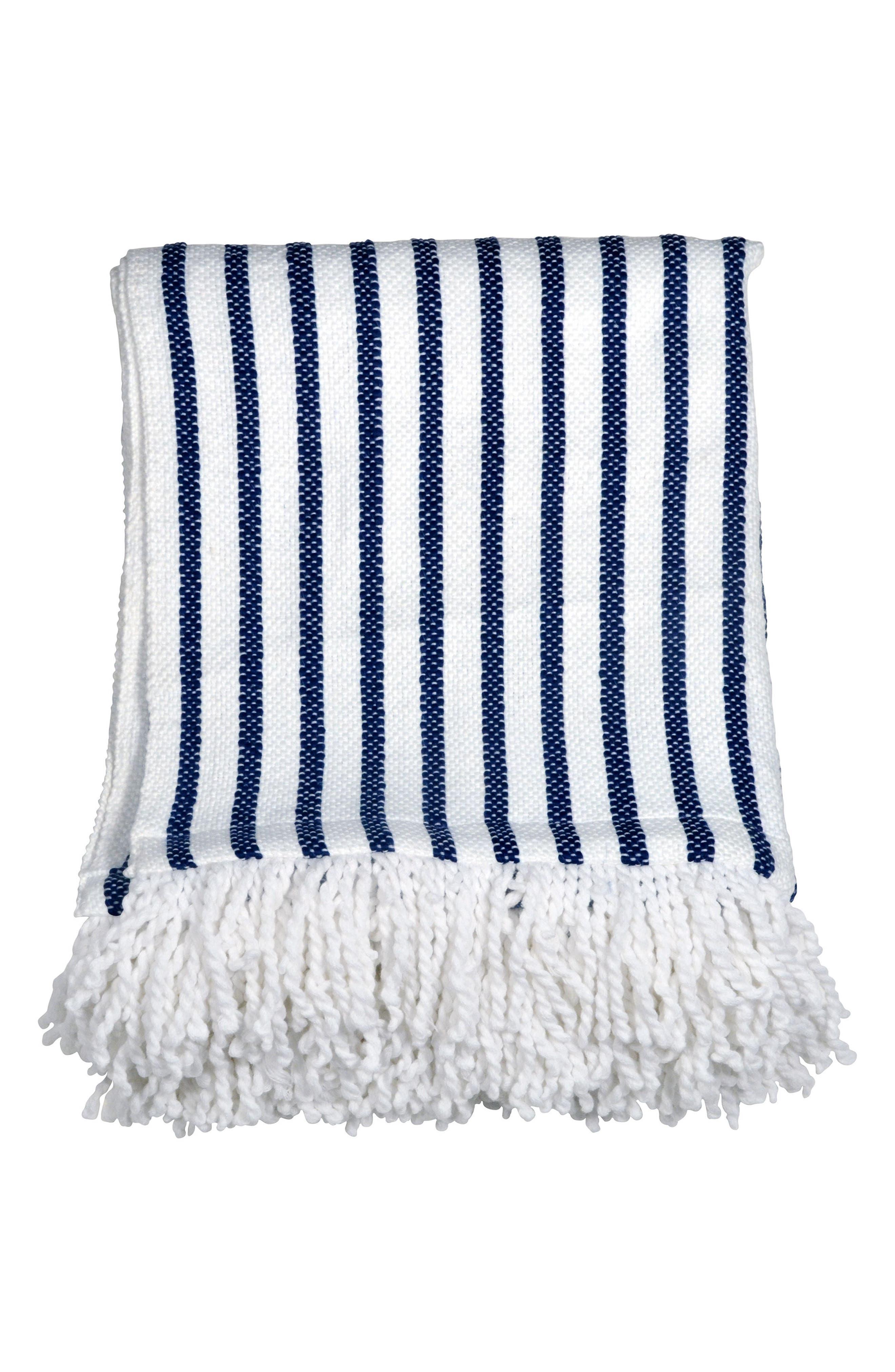 Fringe Throw Blanket,                             Main thumbnail 1, color,                             Navy/ White