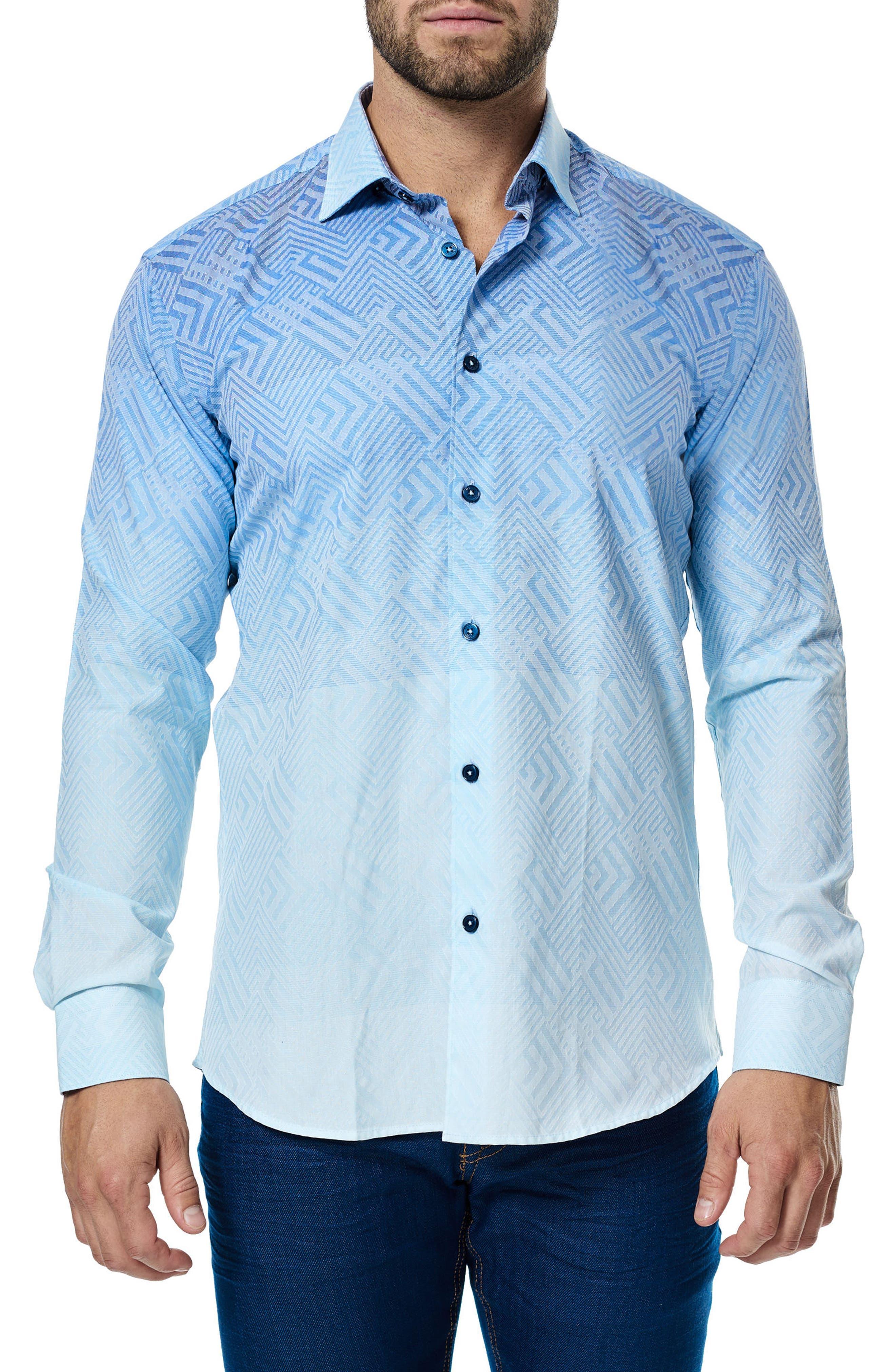 Luxor Ombré Geo Sport Shirt,                         Main,                         color, Turquoise
