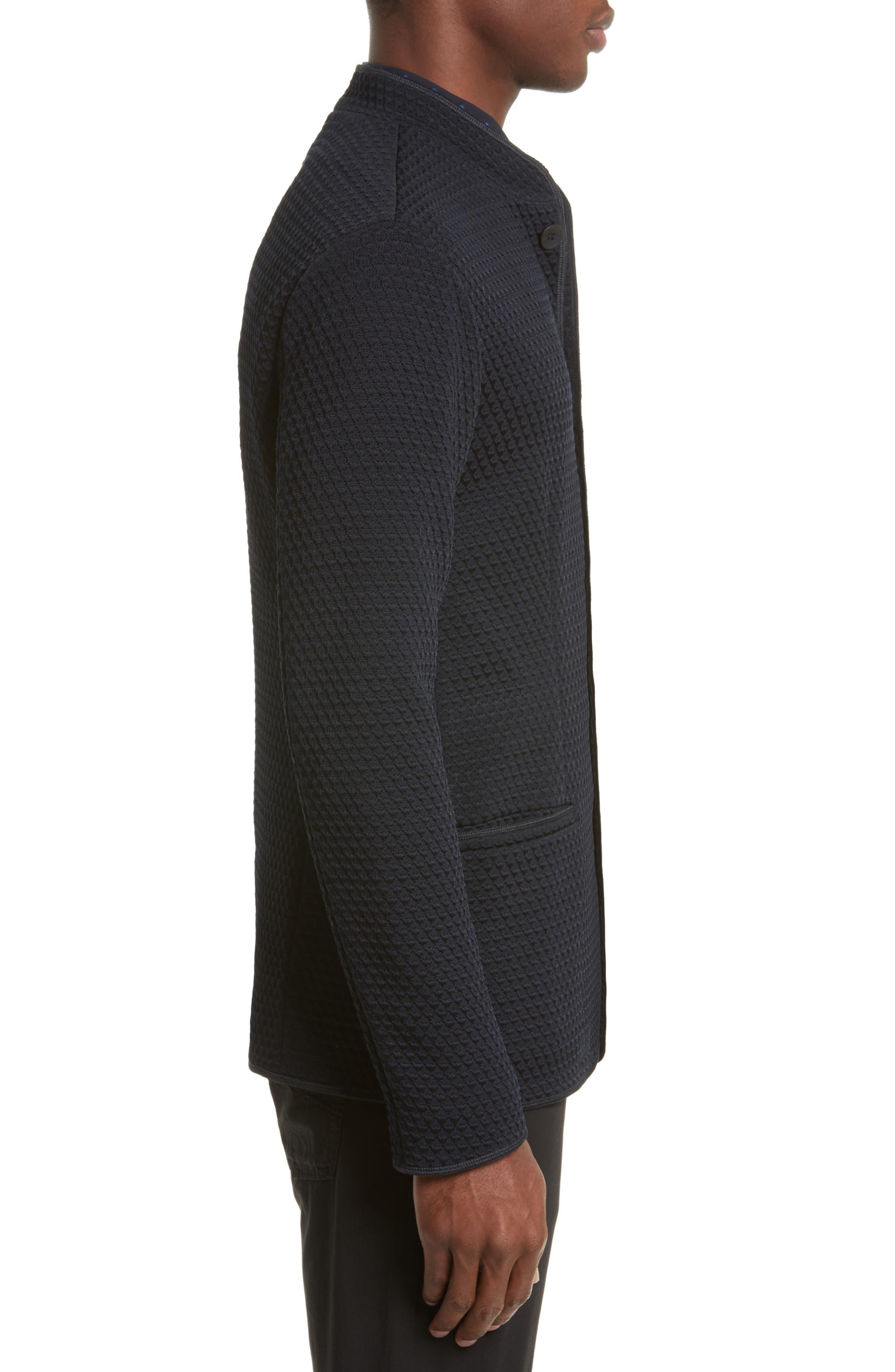 Alternate Image 3  - Armani Collezioni Jacquard Button Front Sweater
