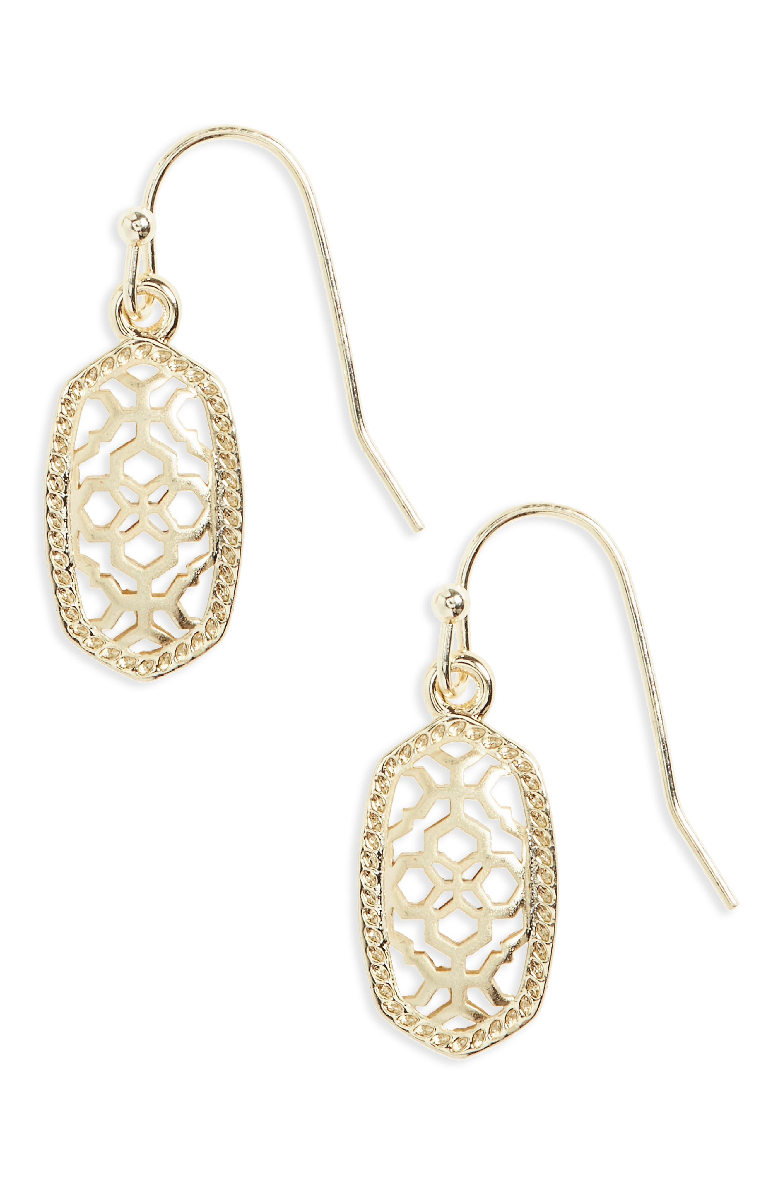 Lee Small Drop Earrings,                         Main,                         color, Gold Metal Filigree