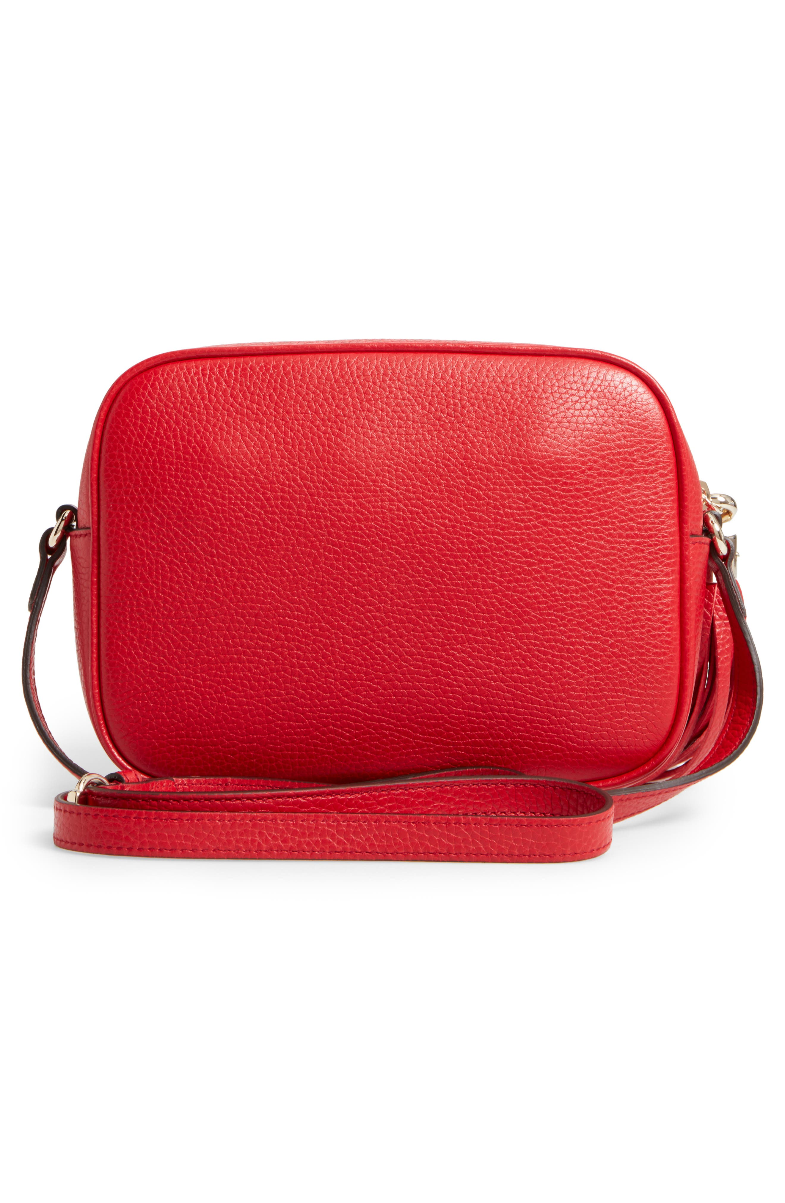 Gucci Soho Disco Textured-Leather Shoulder Bag In Red