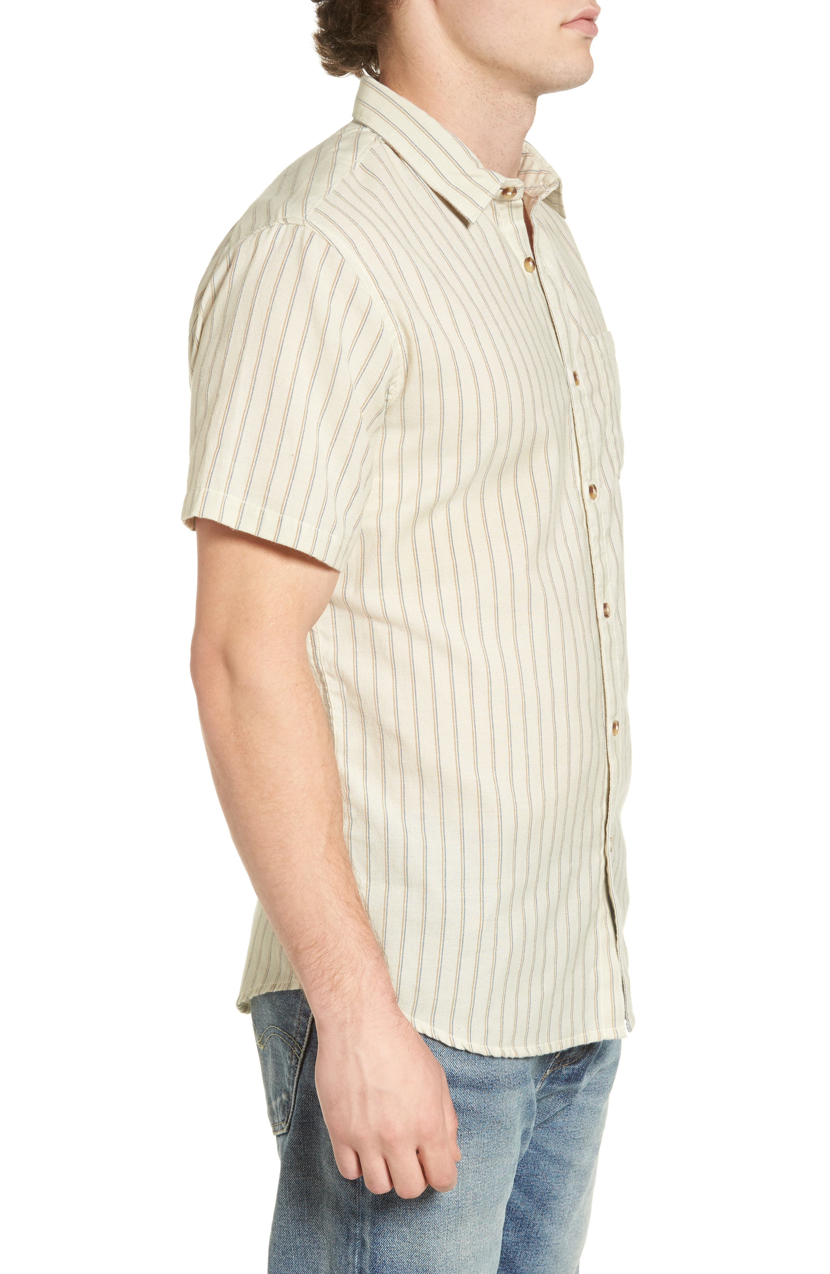 Kelso Tailored Fit Stripe Shirt,                             Alternate thumbnail 3, color,                             Stone