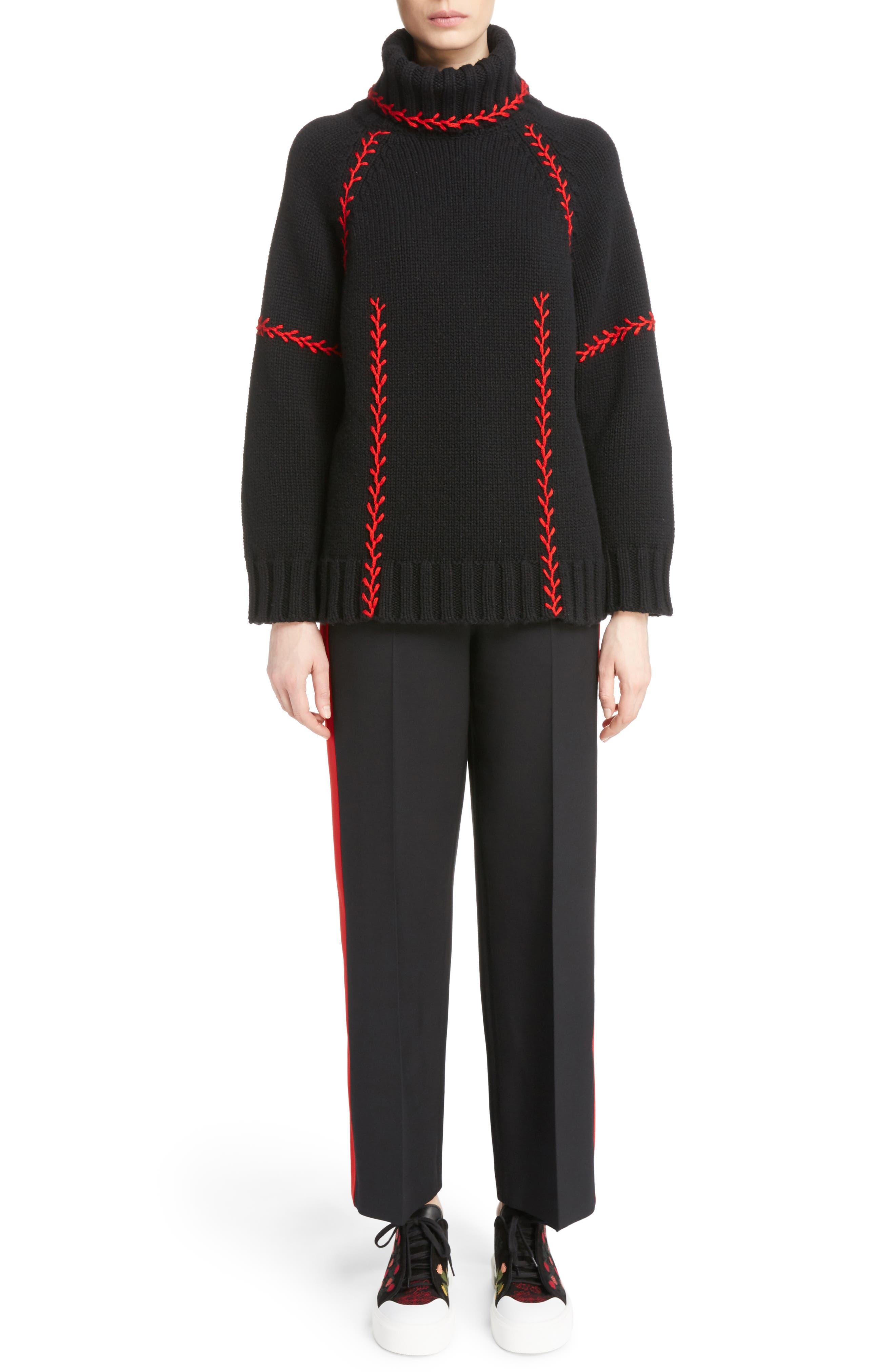 Alternate Image 2  - Alexander McQueen Stitch Detail Cashmere Turtleneck Sweater