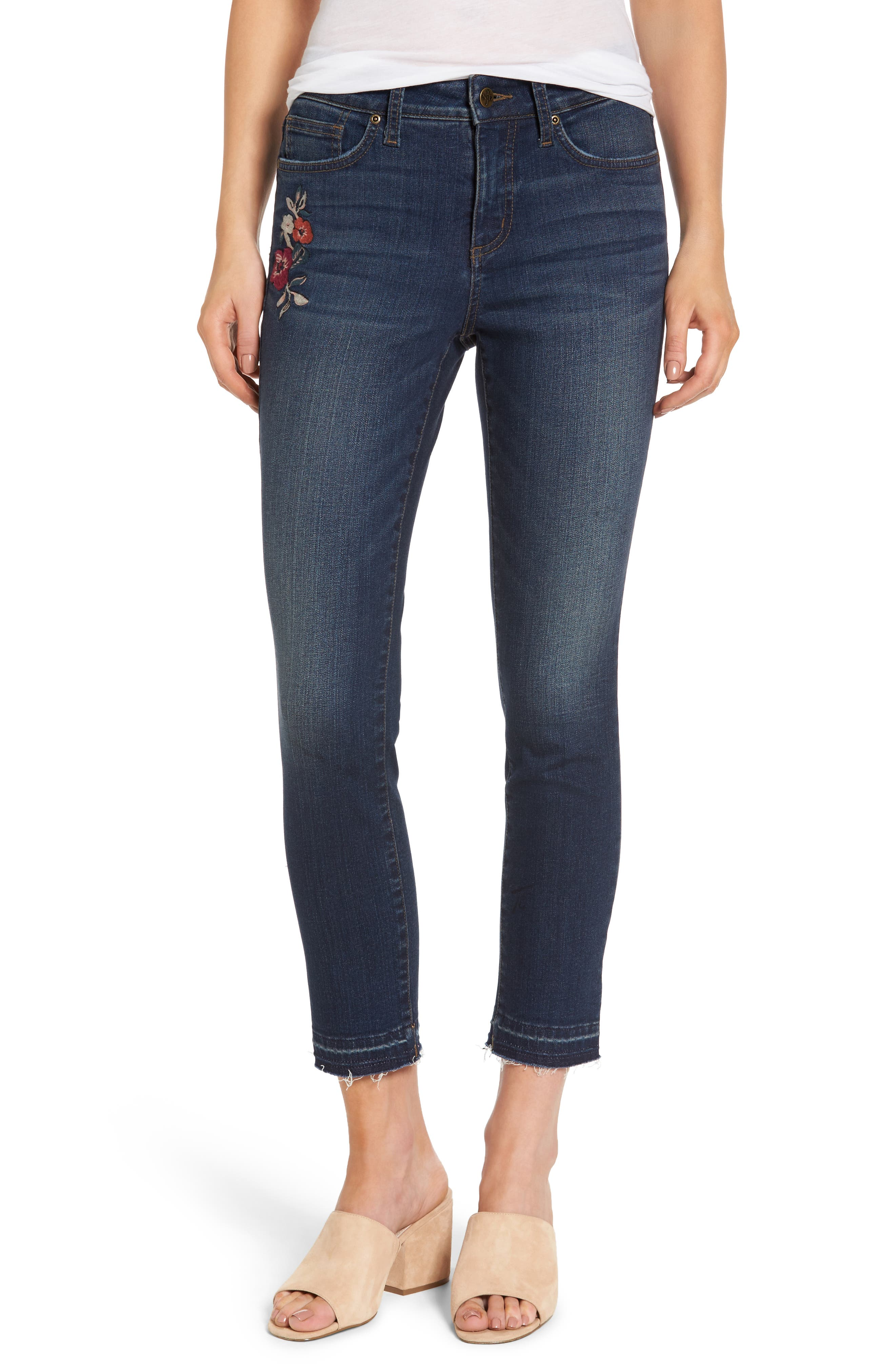 Alternate Image 1 Selected - NYDJ Alina Embroidered Stretch Skinny Ankle Jeans (Horizon)