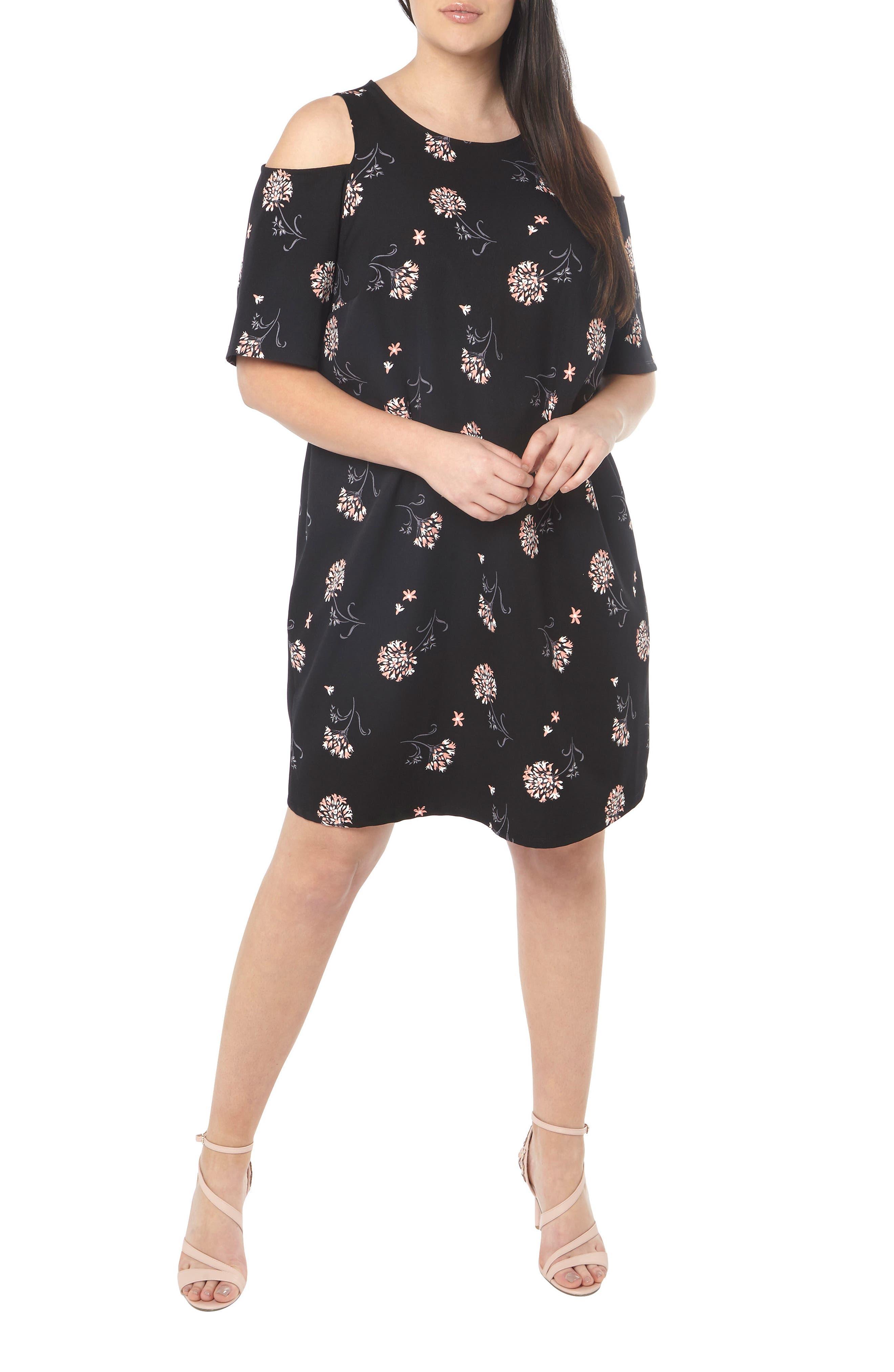 Alternate Image 2  - Dorothy Perkins Floral Cold Shoulder Shift Dress