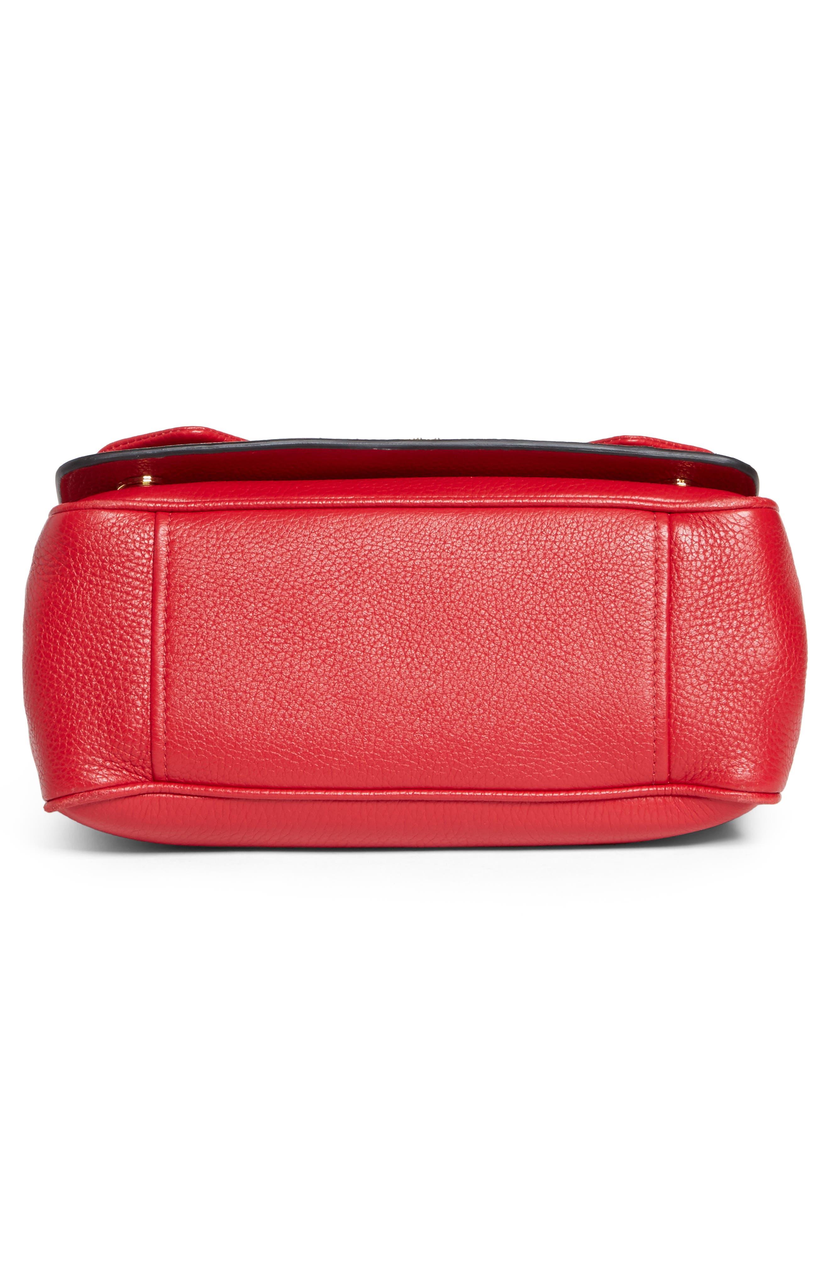 Grainy-B Leather Crossbody Bag,                             Alternate thumbnail 6, color,                             Red
