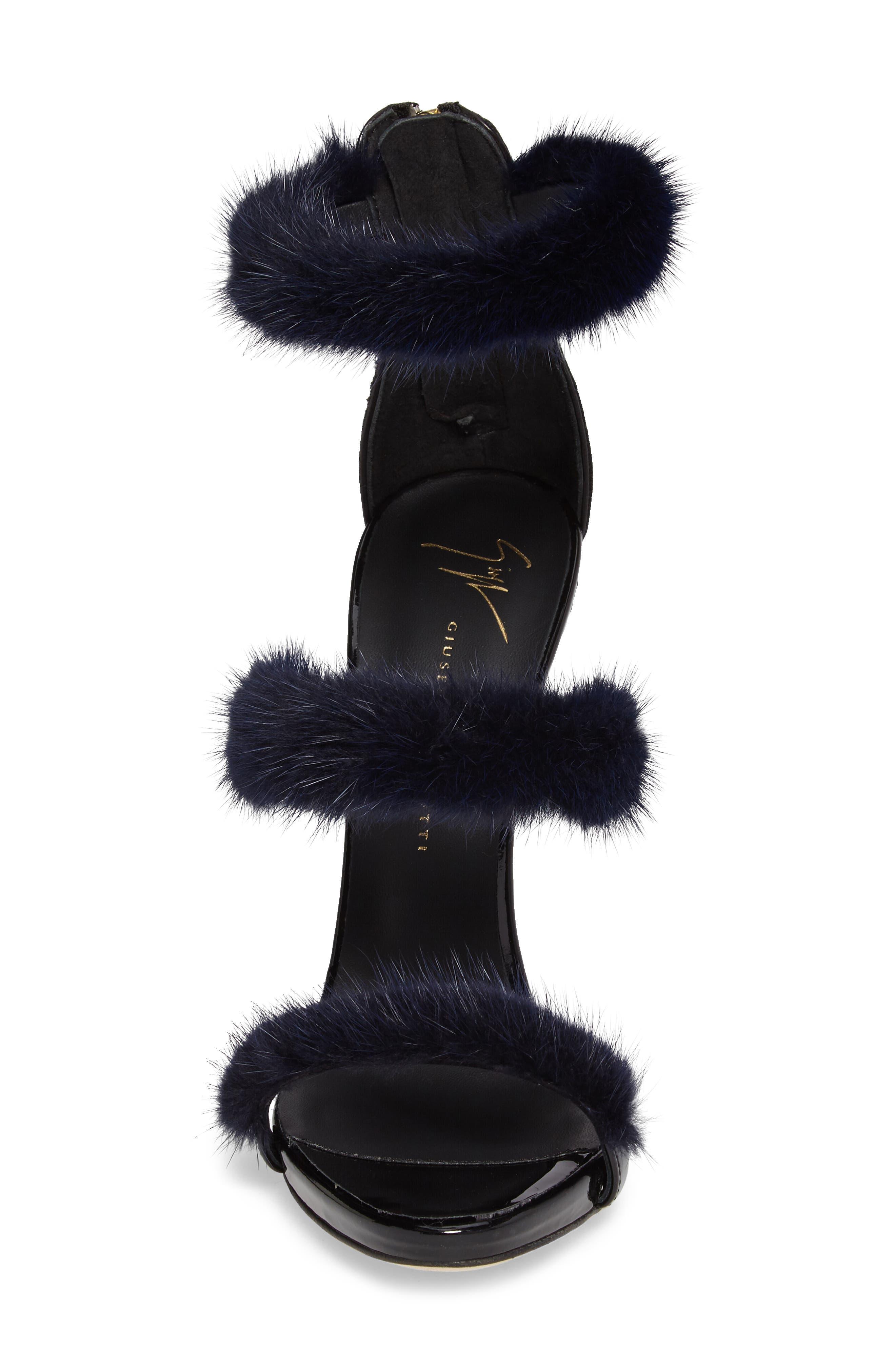 Genuine Mink Fur Triple Band Sandal,                             Alternate thumbnail 4, color,                             Navy/ Black