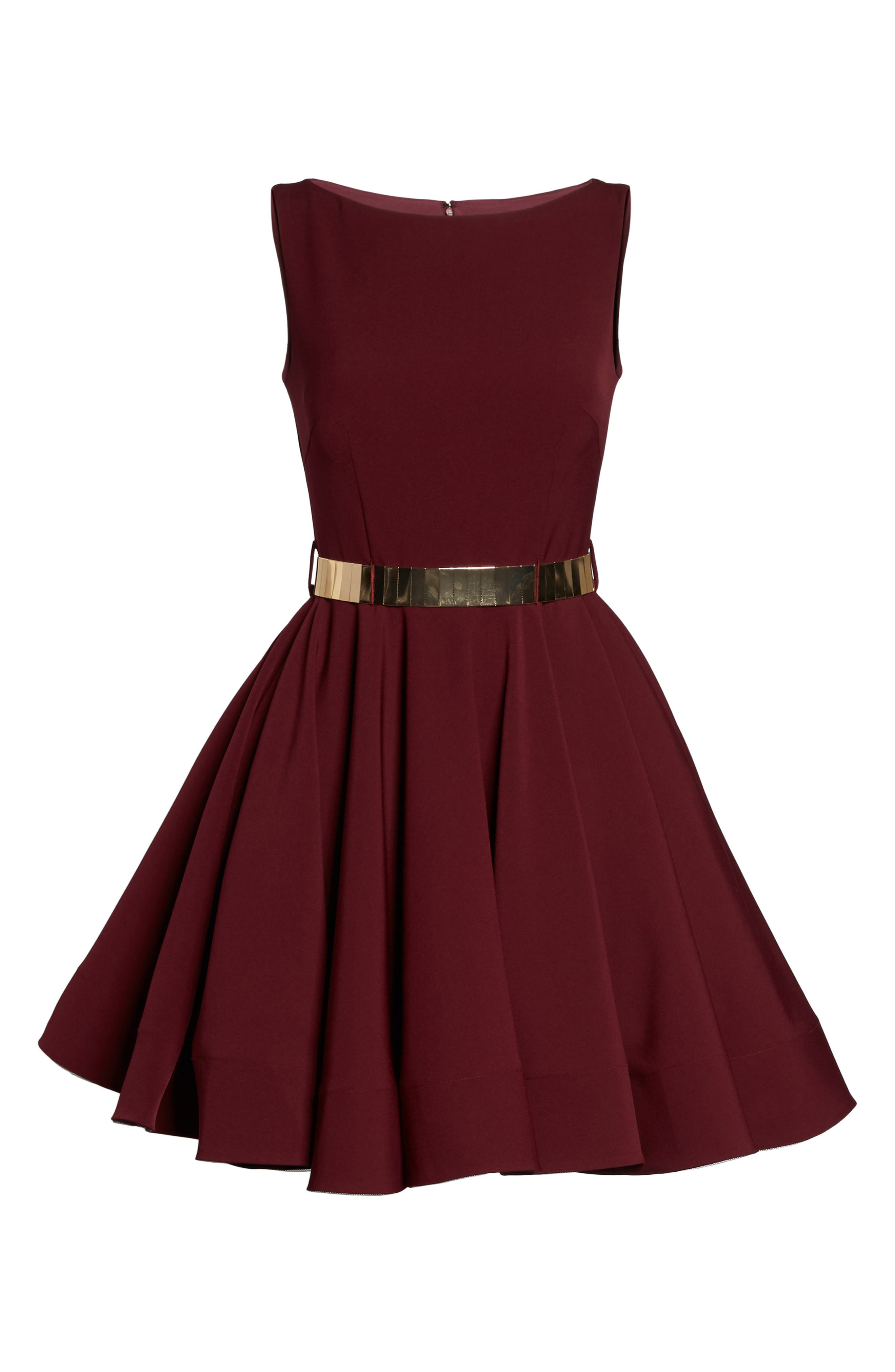 Belted Fit & Flare Dress,                             Alternate thumbnail 6, color,                             Wine