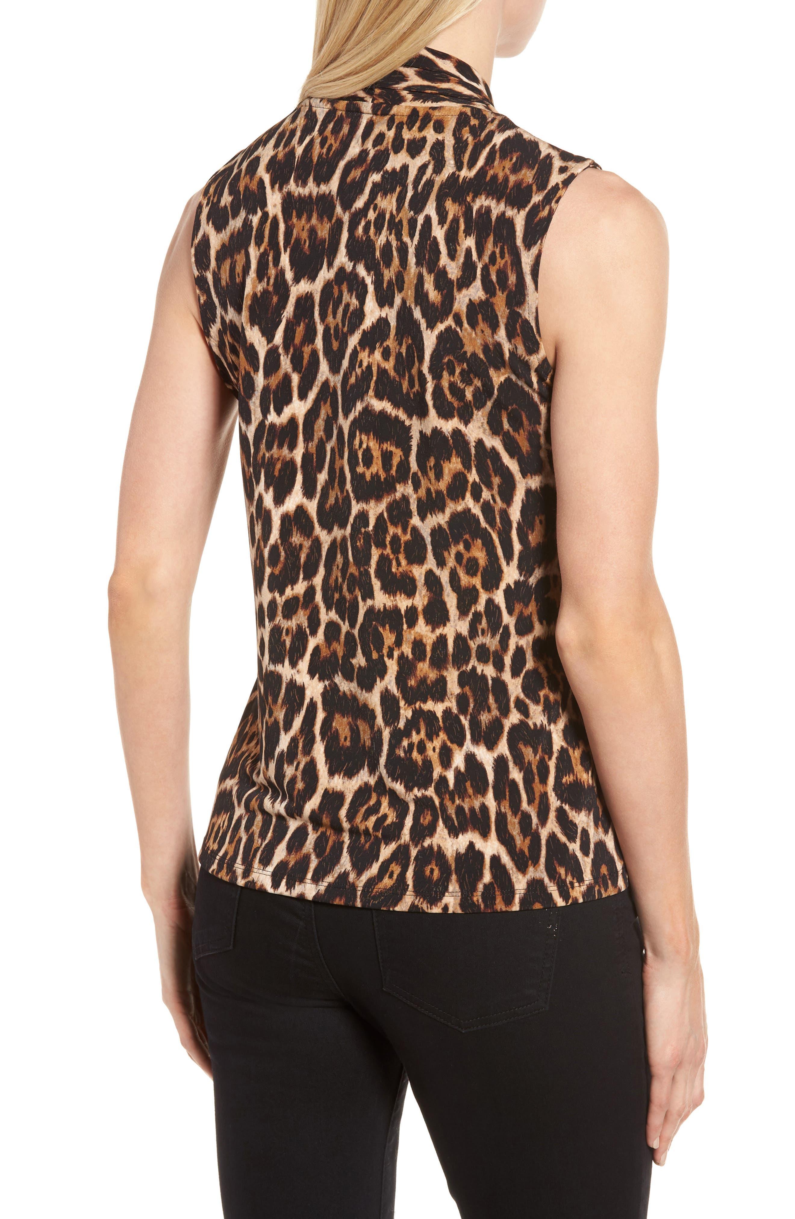 Leopard Print Pleat V-Neck Top,                             Alternate thumbnail 2, color,                             Baton Combo