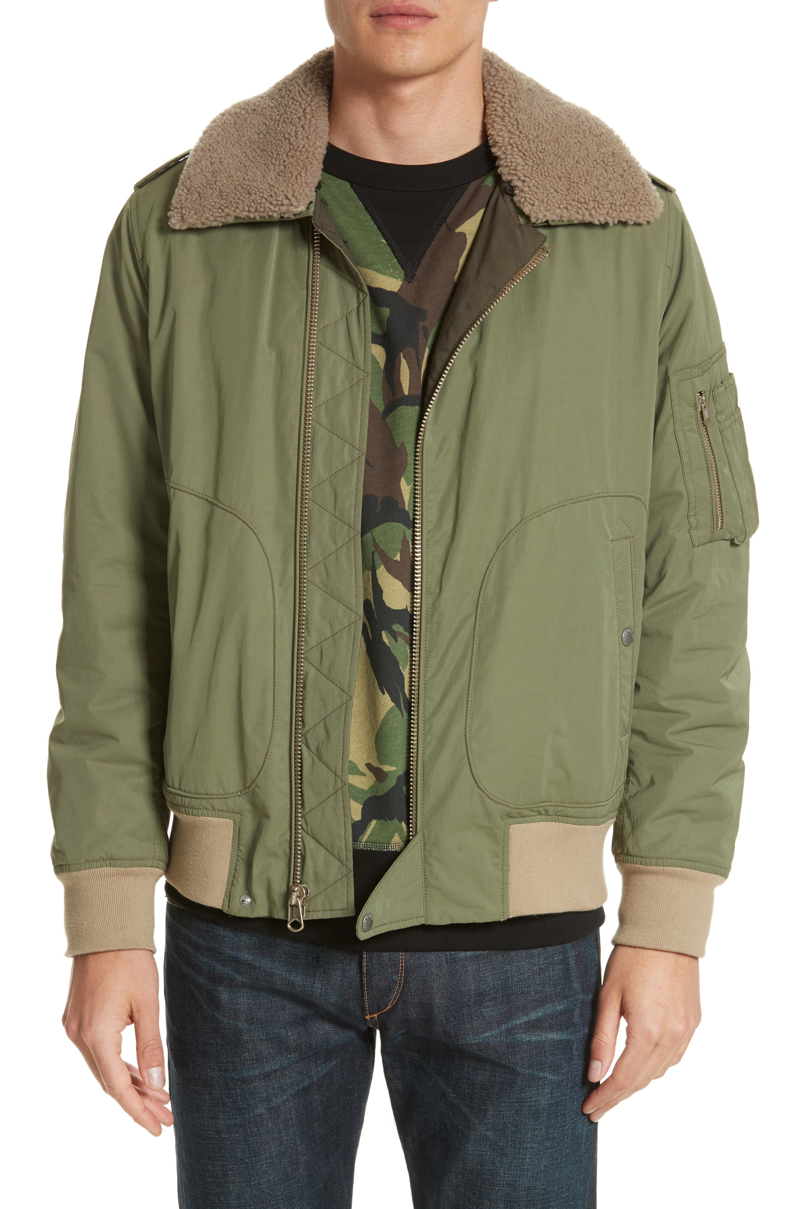 Flight Jacket with Genuine Shearling Collar,                         Main,                         color, Army Green