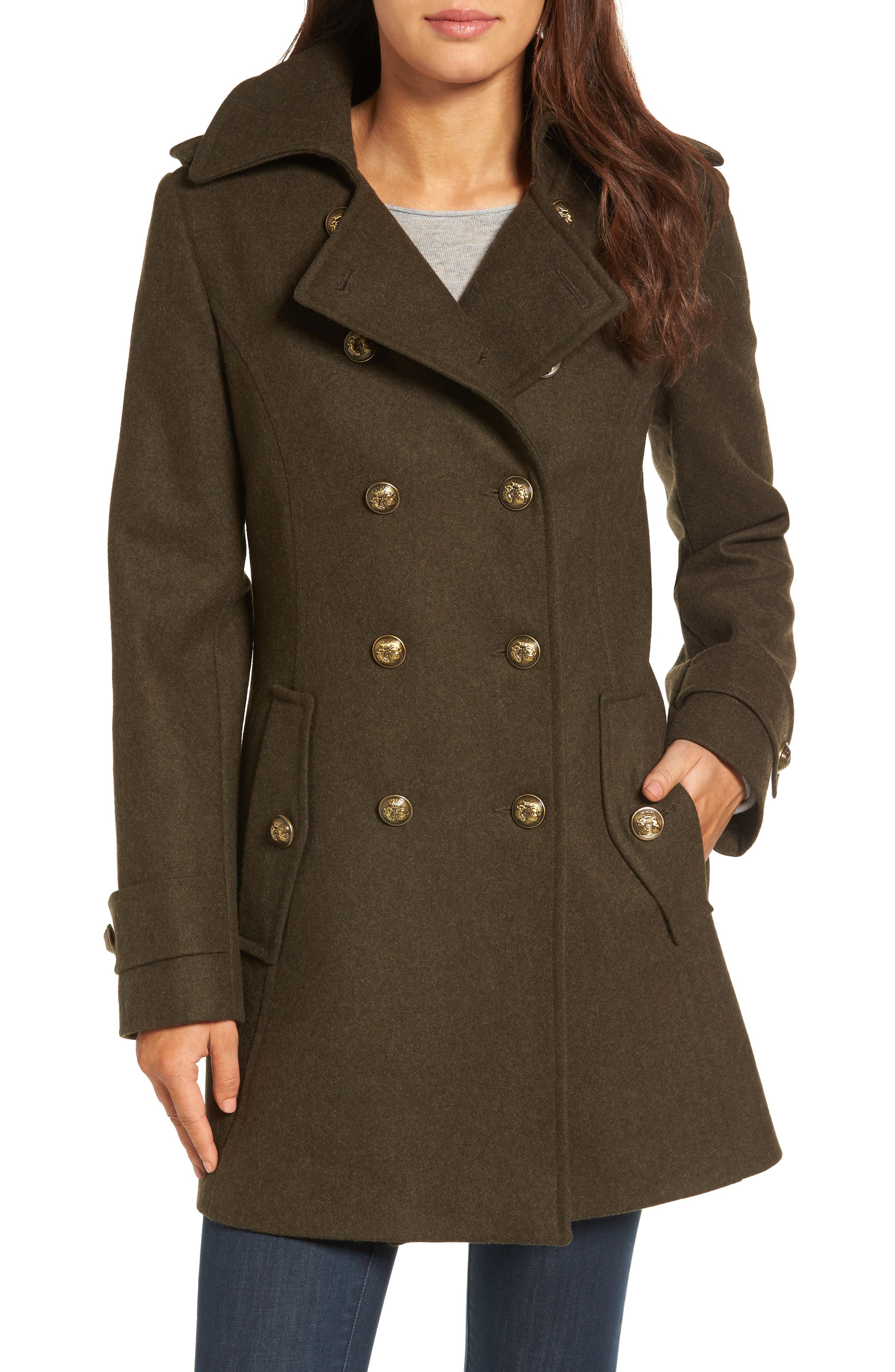 Wool Blend Skirted Military Coat,                         Main,                         color, Olive