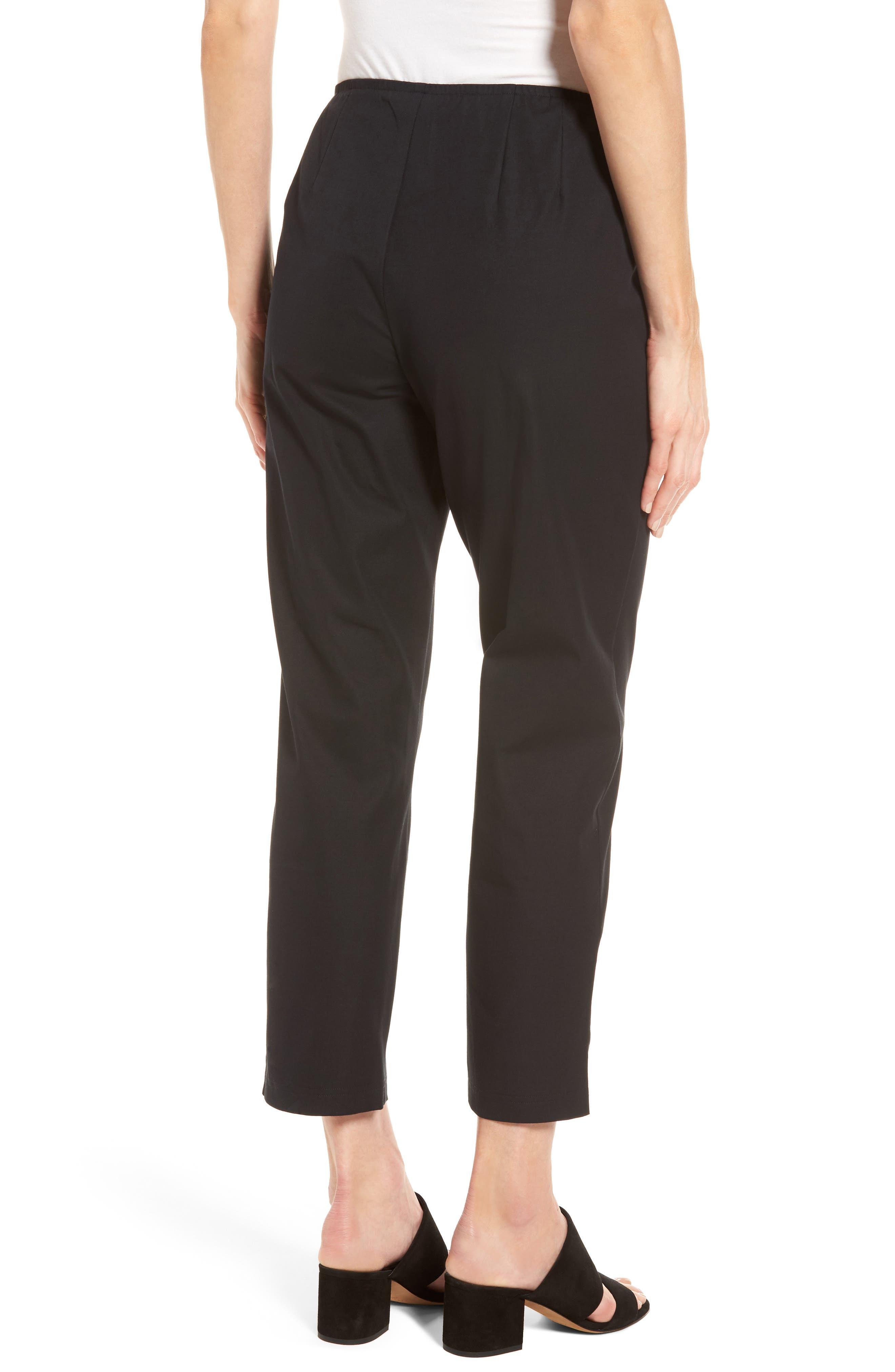 Organic Stretch Cotton Twill Ankle Pants,                             Alternate thumbnail 2, color,                             Black