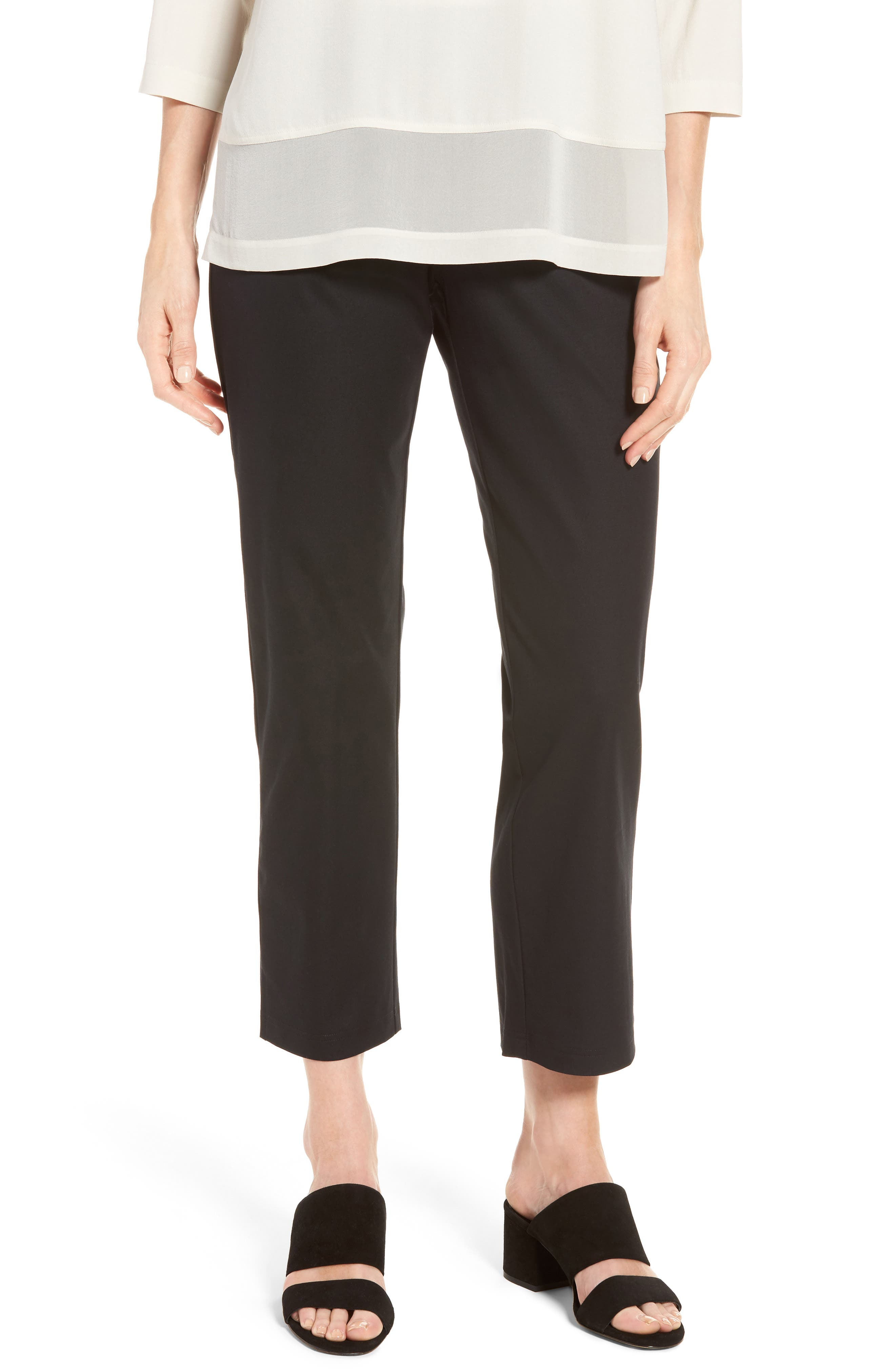 Organic Stretch Cotton Twill Ankle Pants,                             Main thumbnail 1, color,                             Black