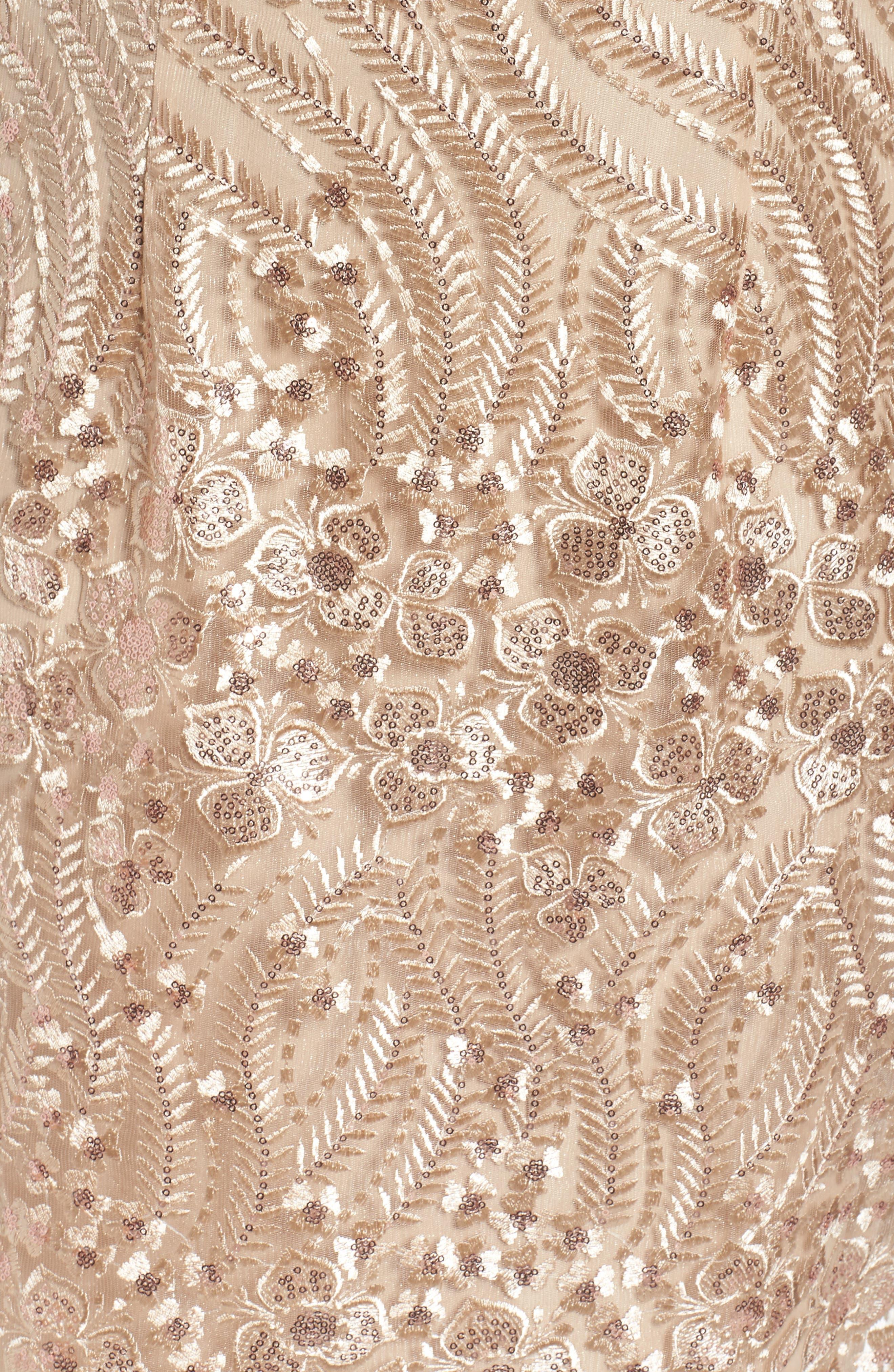 Embellished Sheath Dress,                             Alternate thumbnail 5, color,                             Champagne