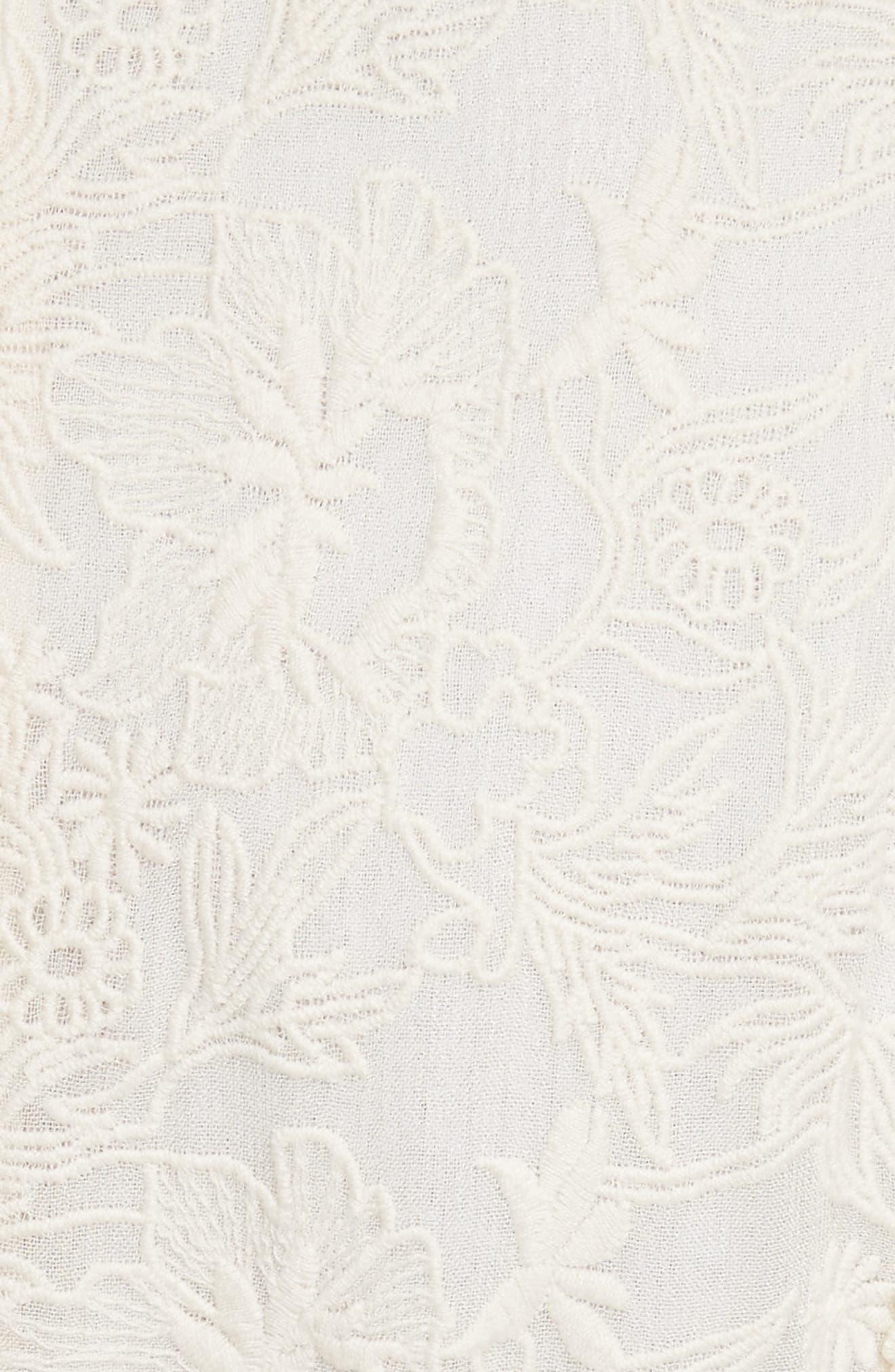 Enya Embroidered Cold Shoulder Dress,                             Alternate thumbnail 5, color,                             Cream