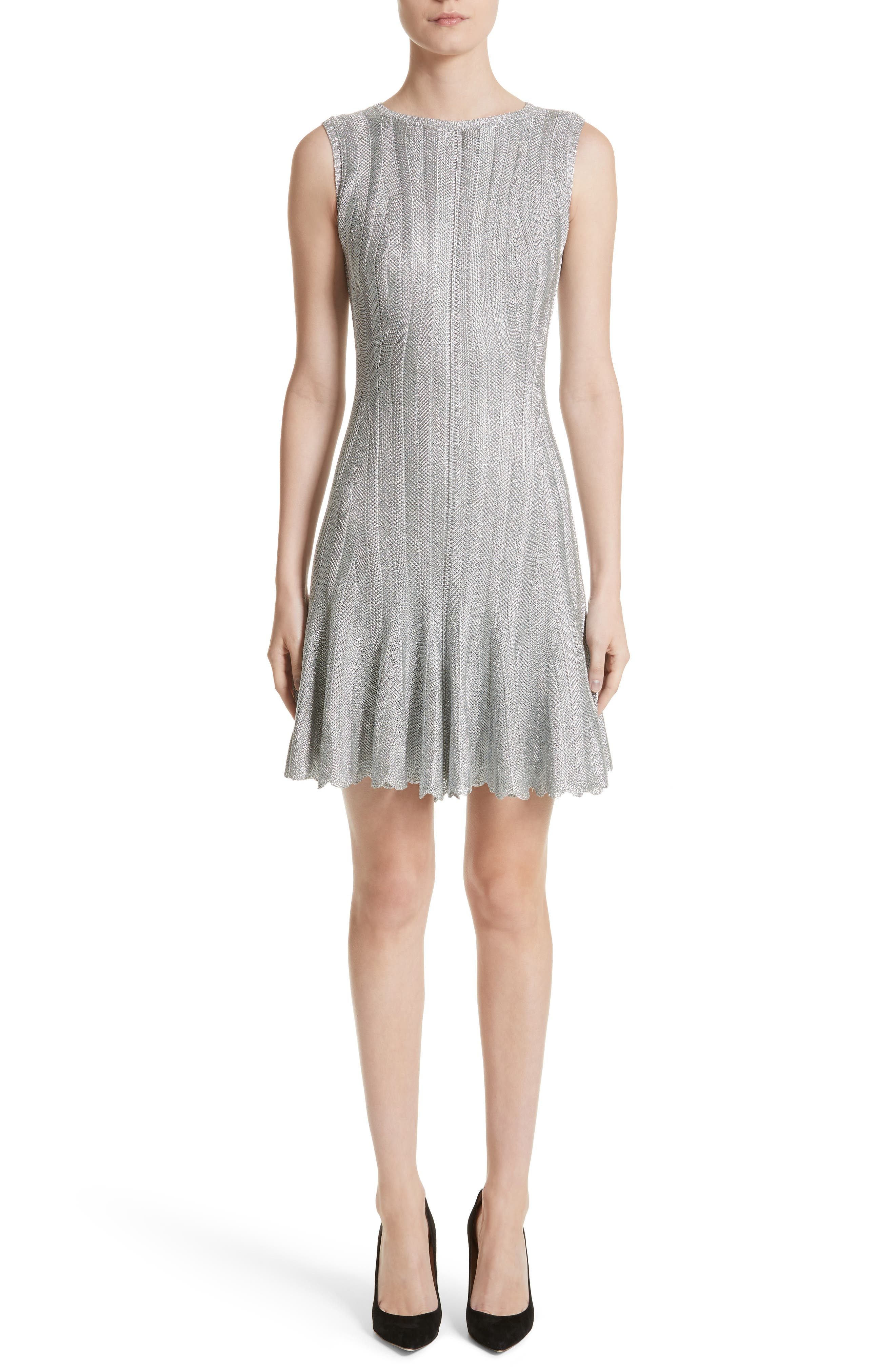 Metallic Knit Fit & Flare Dress,                             Main thumbnail 1, color,                             Silver Metallic
