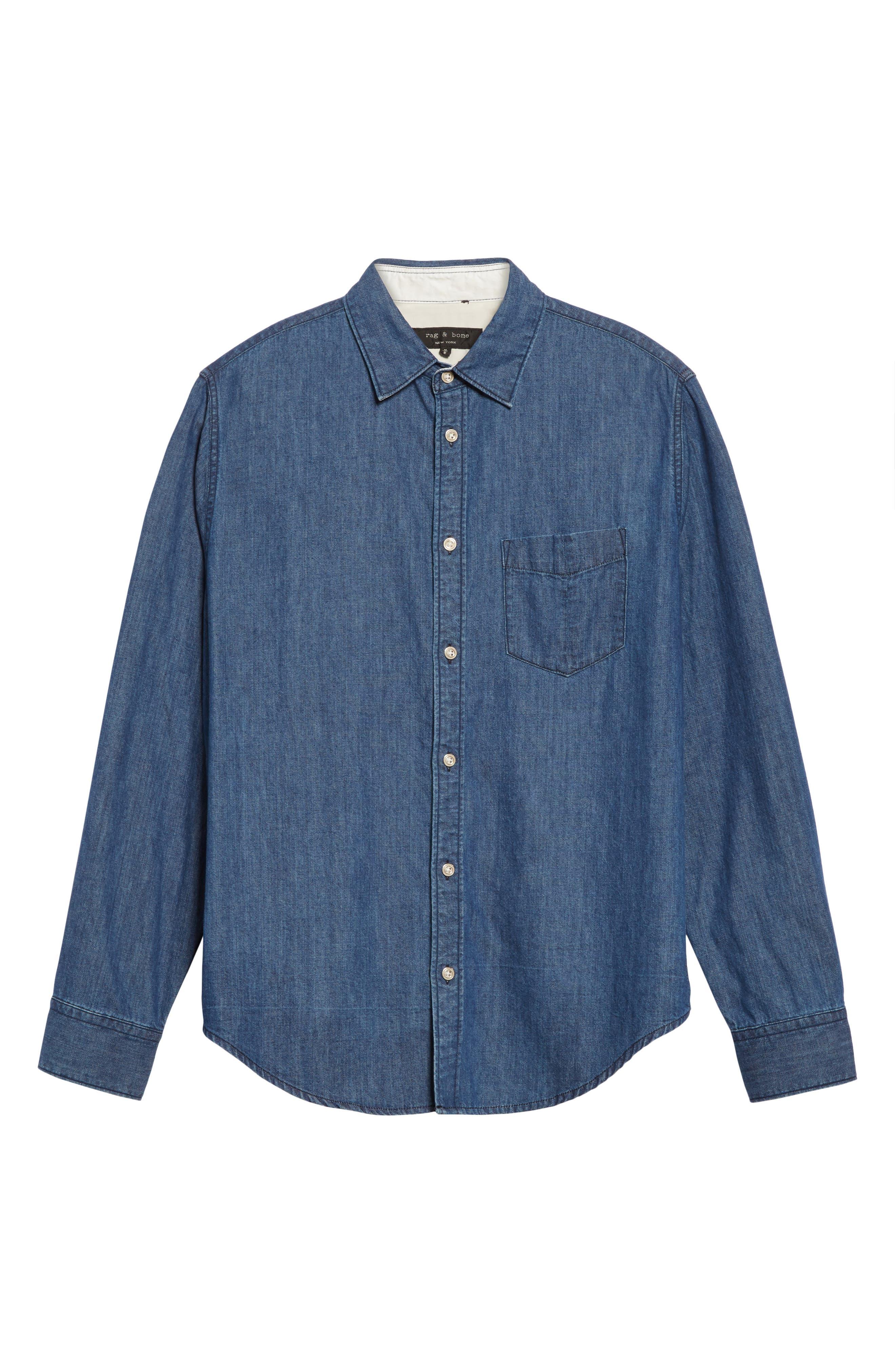 Fit 3 Woven Denim Shirt,                             Alternate thumbnail 6, color,                             Indigo