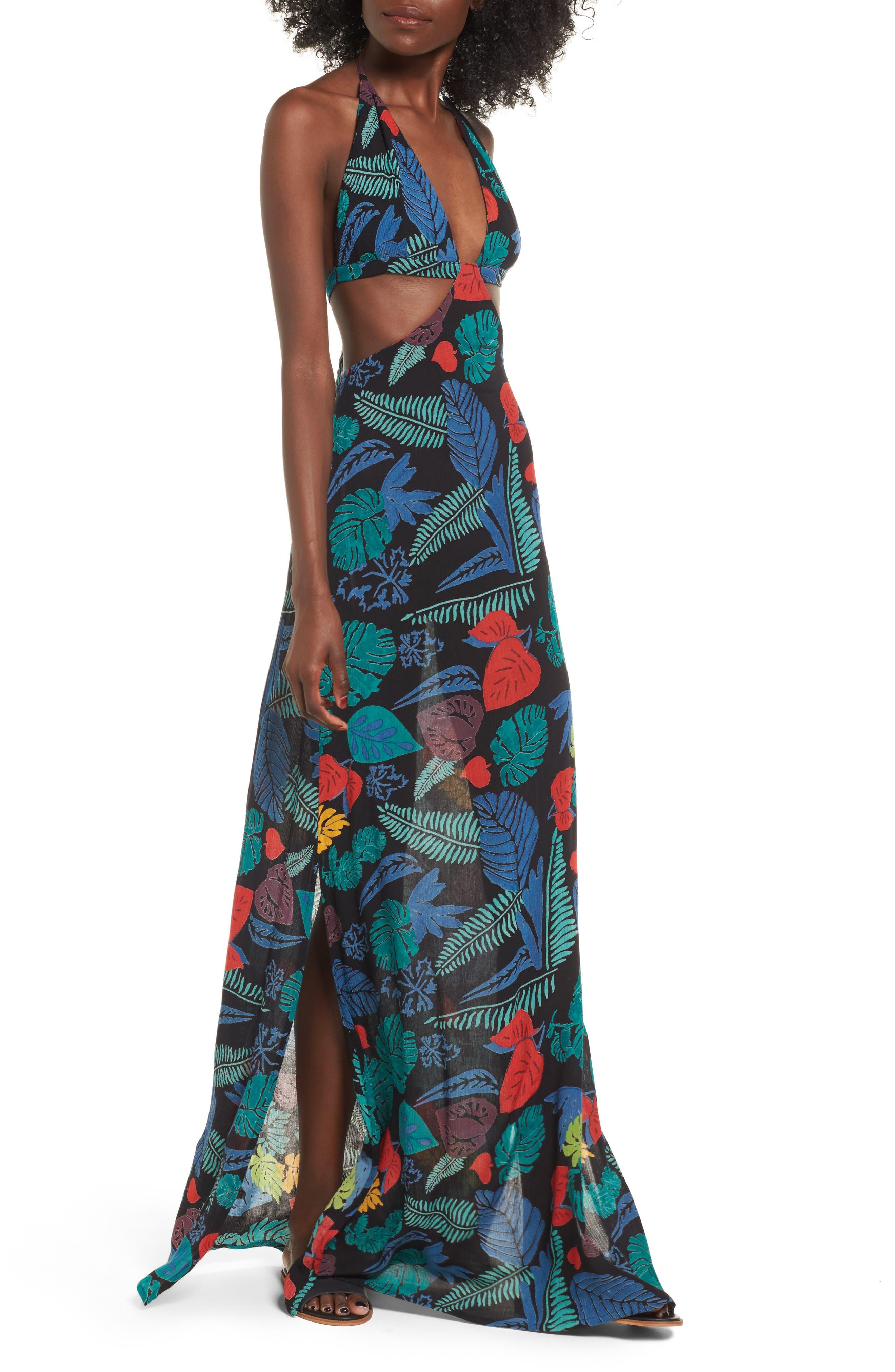 Alternate Image 1 Selected - Raga Punta Uva Cutout Halter Maxi Dress