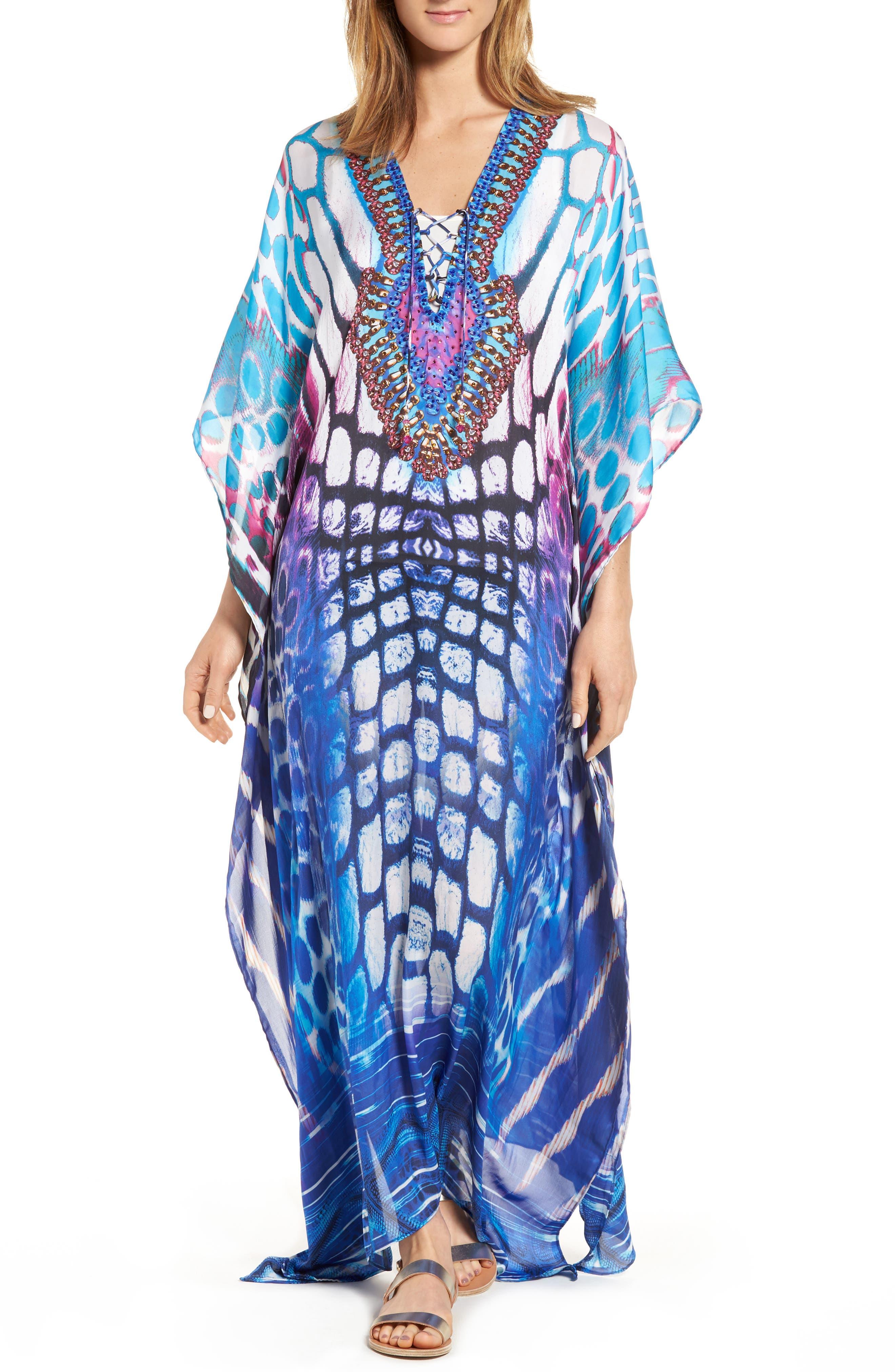Malibu Long Kaftan,                         Main,                         color, Blue/ Multi