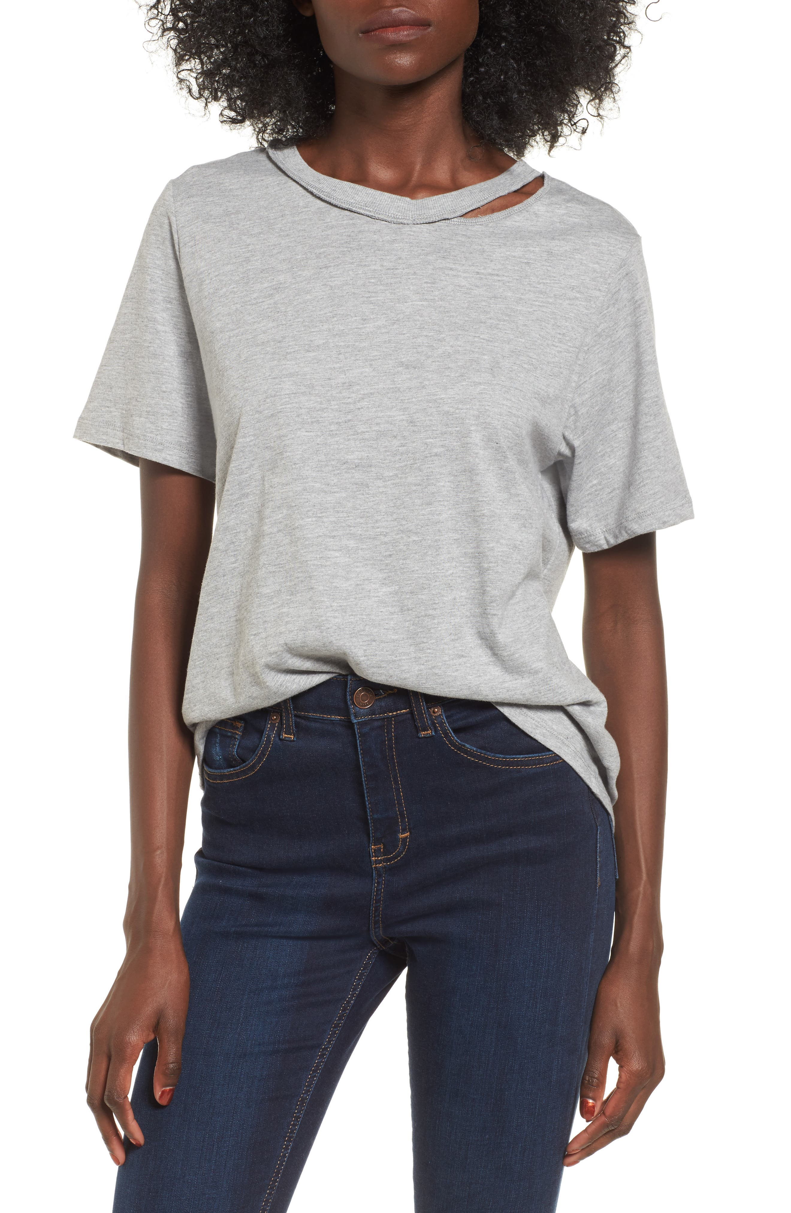 Alternate Image 1 Selected - Topshop Slash Choker Boxy Tee