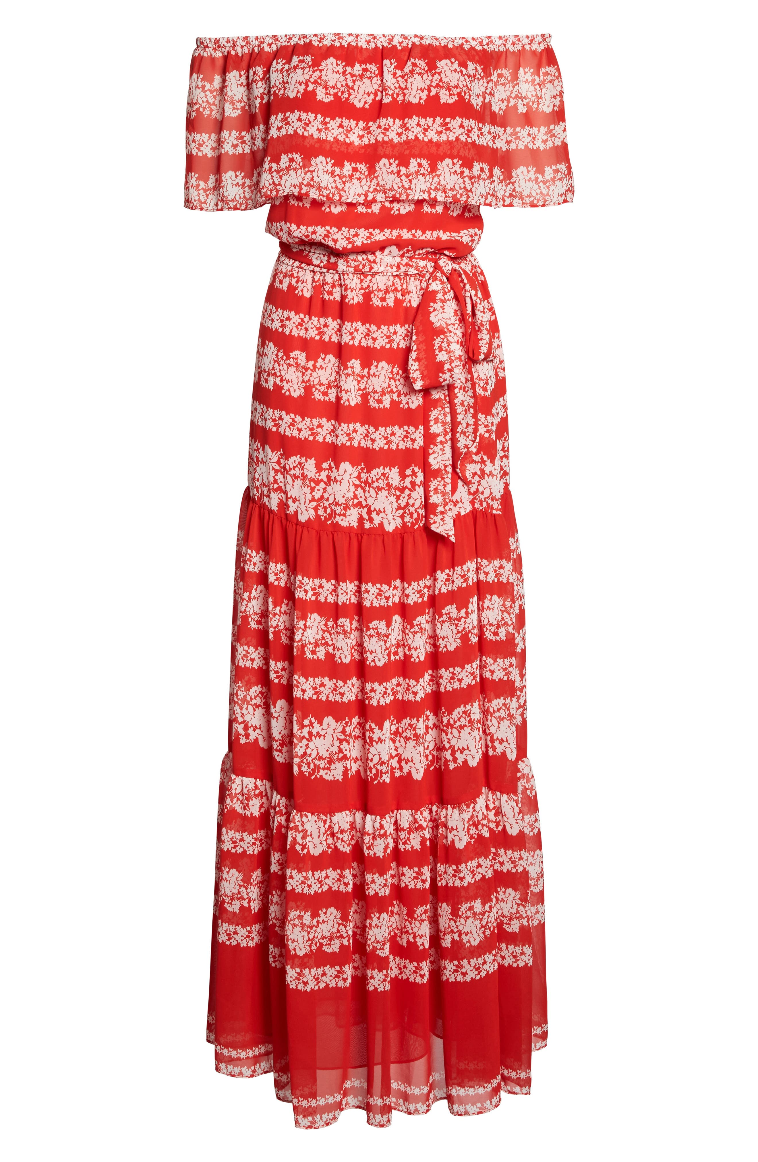 Off the Shoulder Maxi Dress,                             Alternate thumbnail 6, color,                             Red/ Ivory