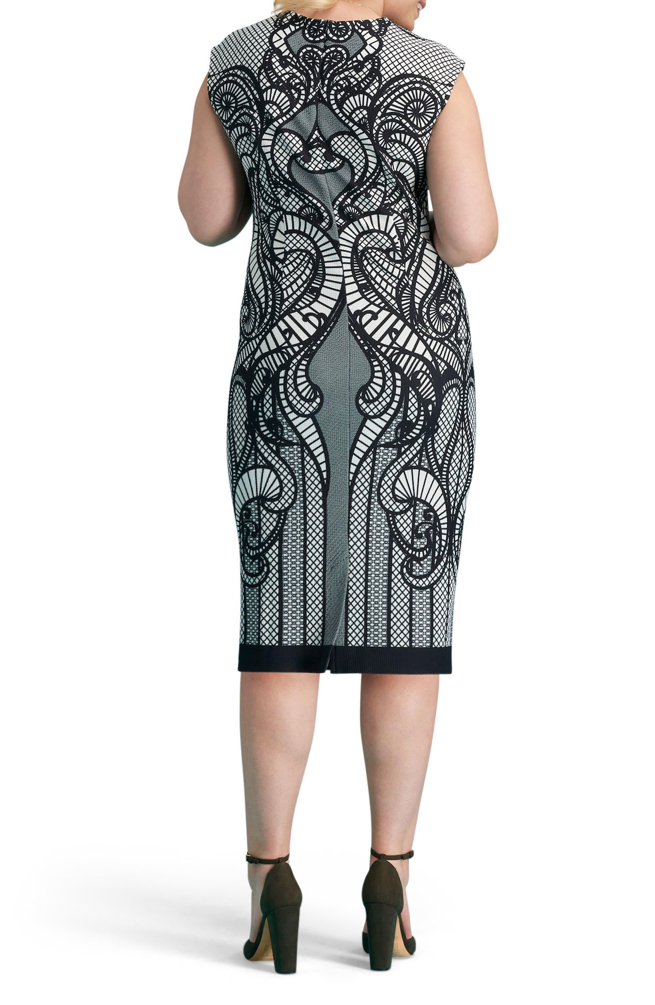 Print Piqué Sheath Dress,                             Alternate thumbnail 2, color,                             Black/ White