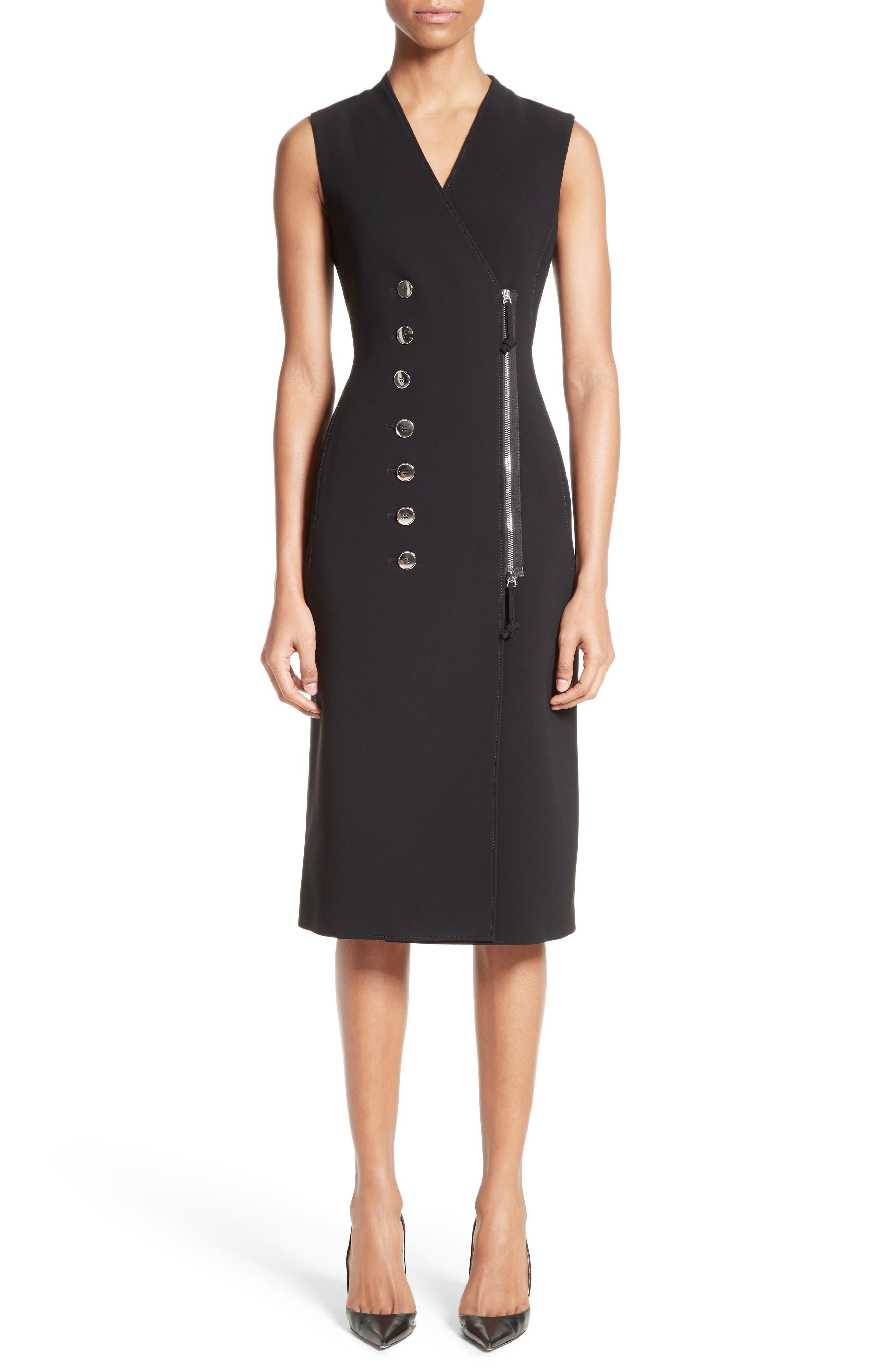 Lucretia Button & Zip Detail Dress,                         Main,                         color, Black