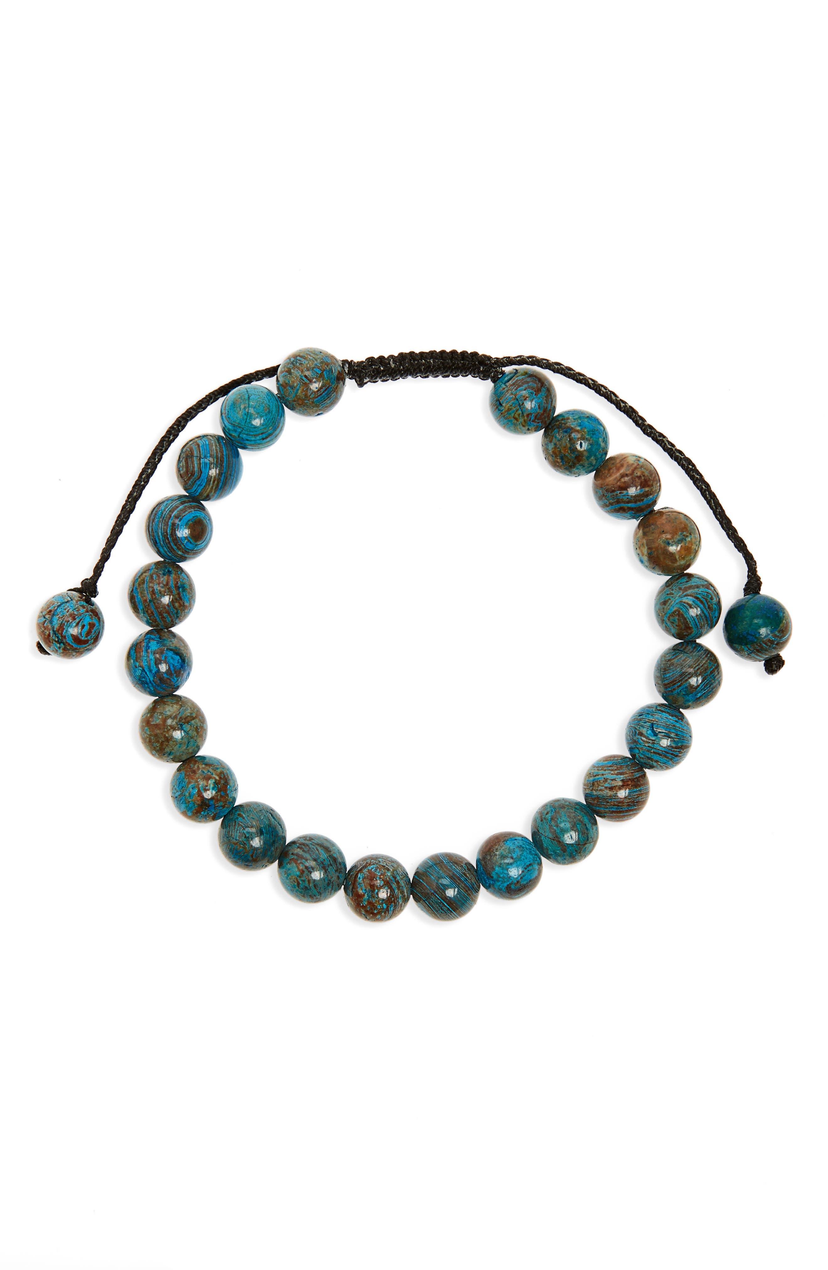 Agate Bead Bracelet,                         Main,                         color, Brown