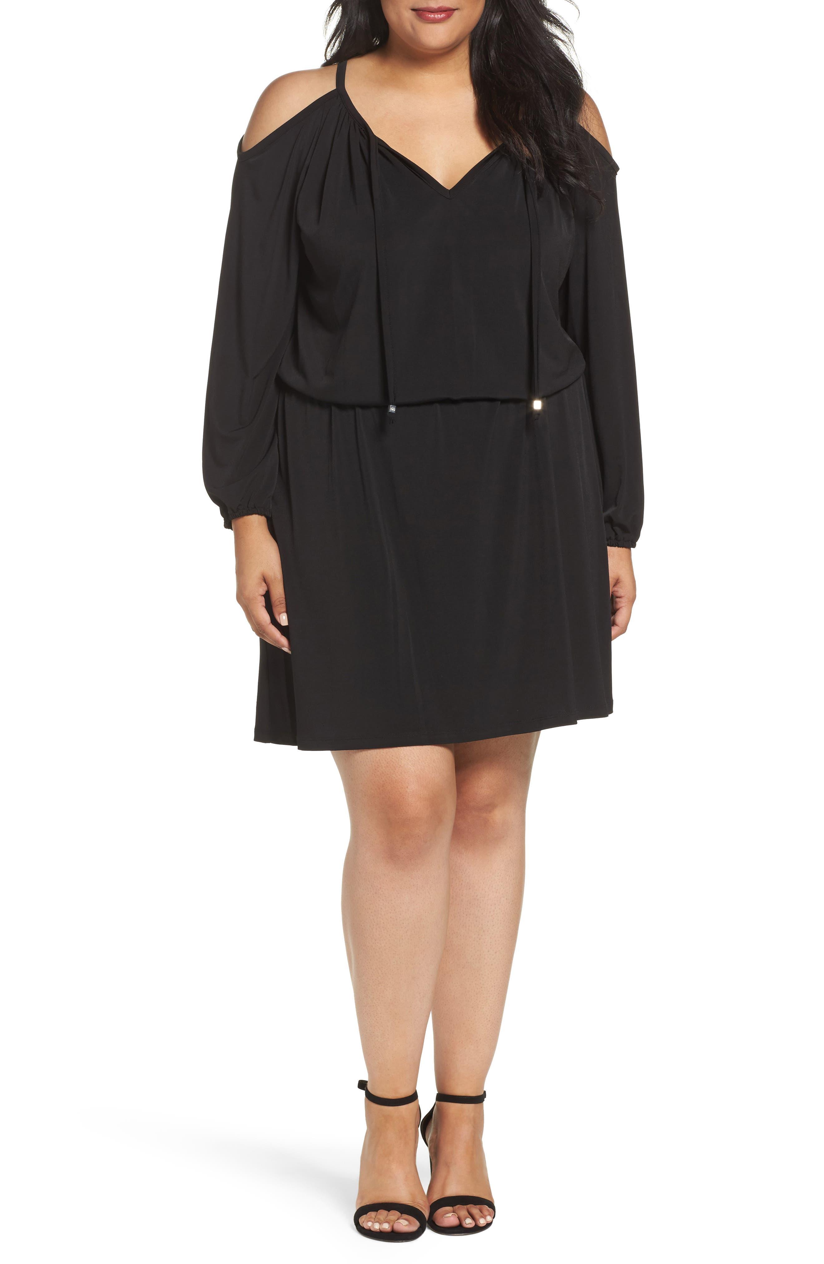 Cold Shoulder A-Line Jersey Dress,                             Main thumbnail 1, color,                             Black