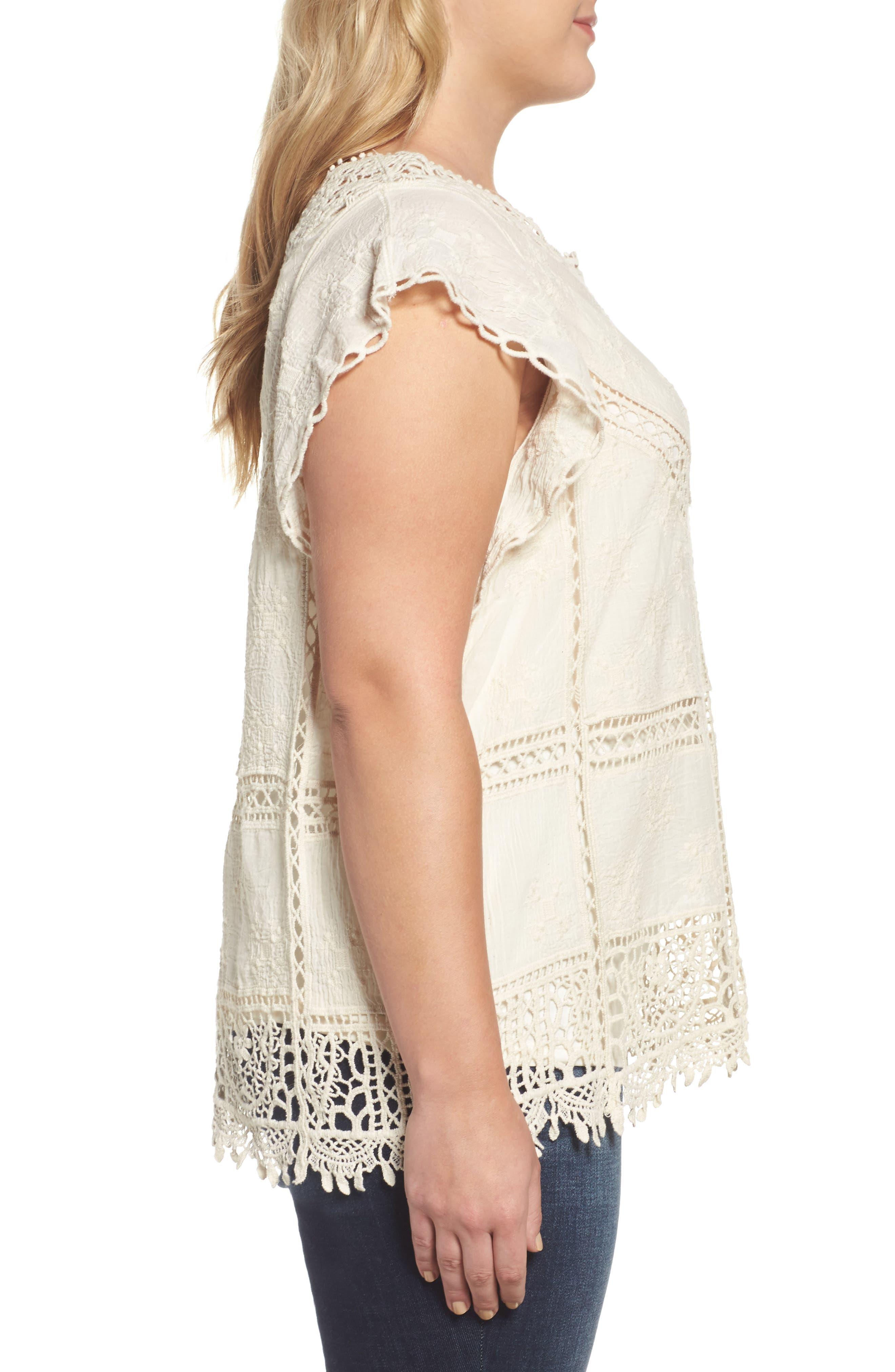 Alternate Image 3  - Wit & Wisdom Flutter Sleeve Crochet Top (Plus Size) (Nordstrom Exclusive)