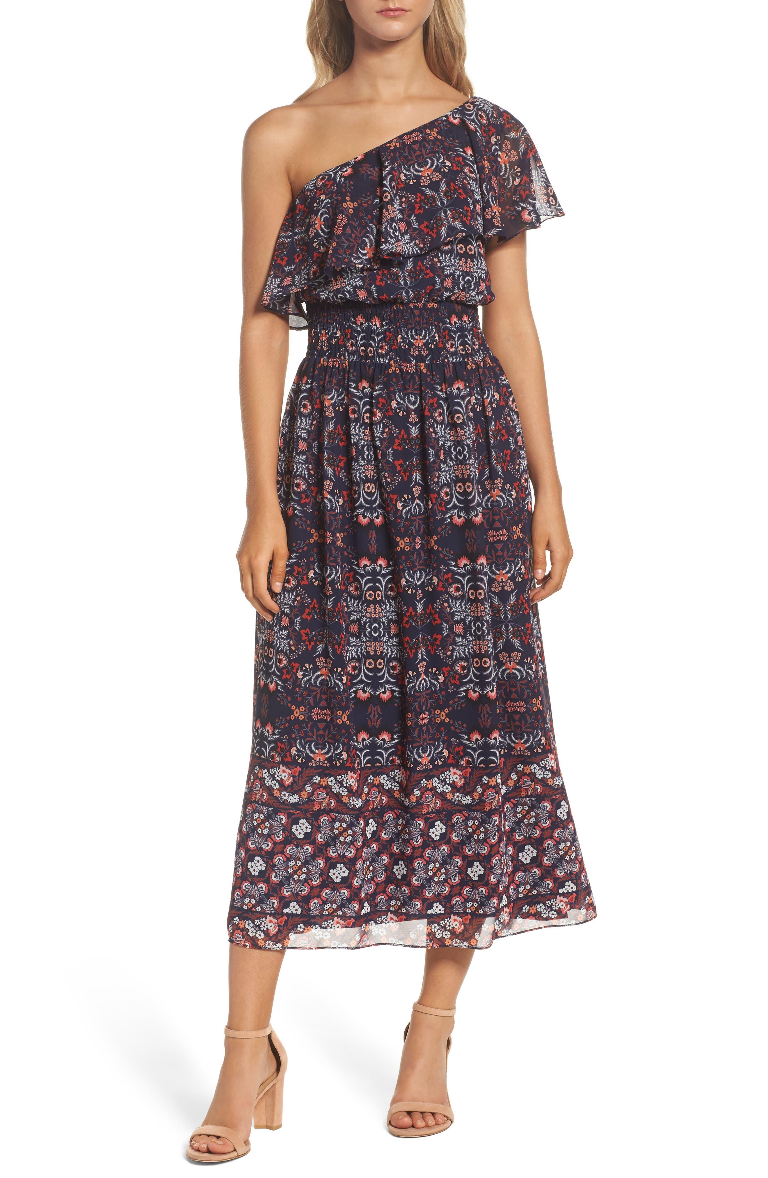 Alternate Image 1 Selected - Vince Camuto One-Shoulder Midi Dress