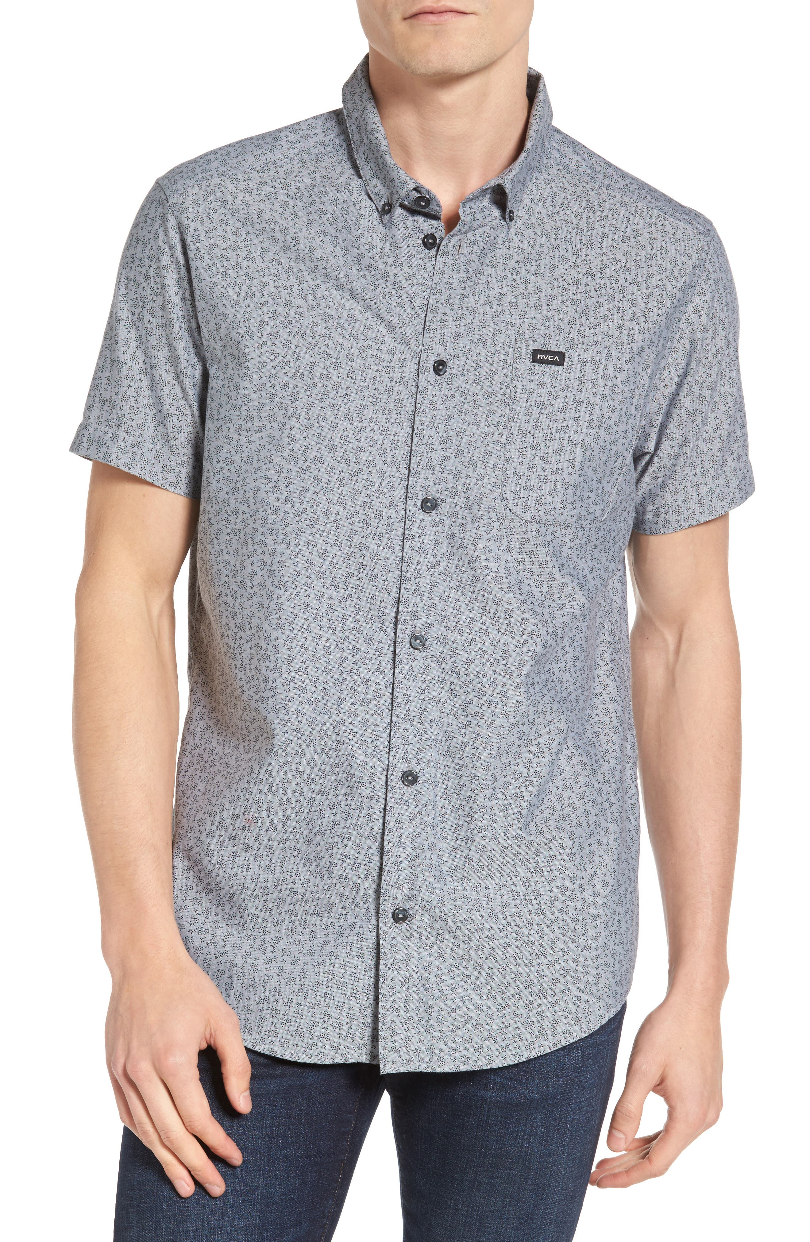 That'll Do Floral Woven Shirt,                         Main,                         color, Pavement