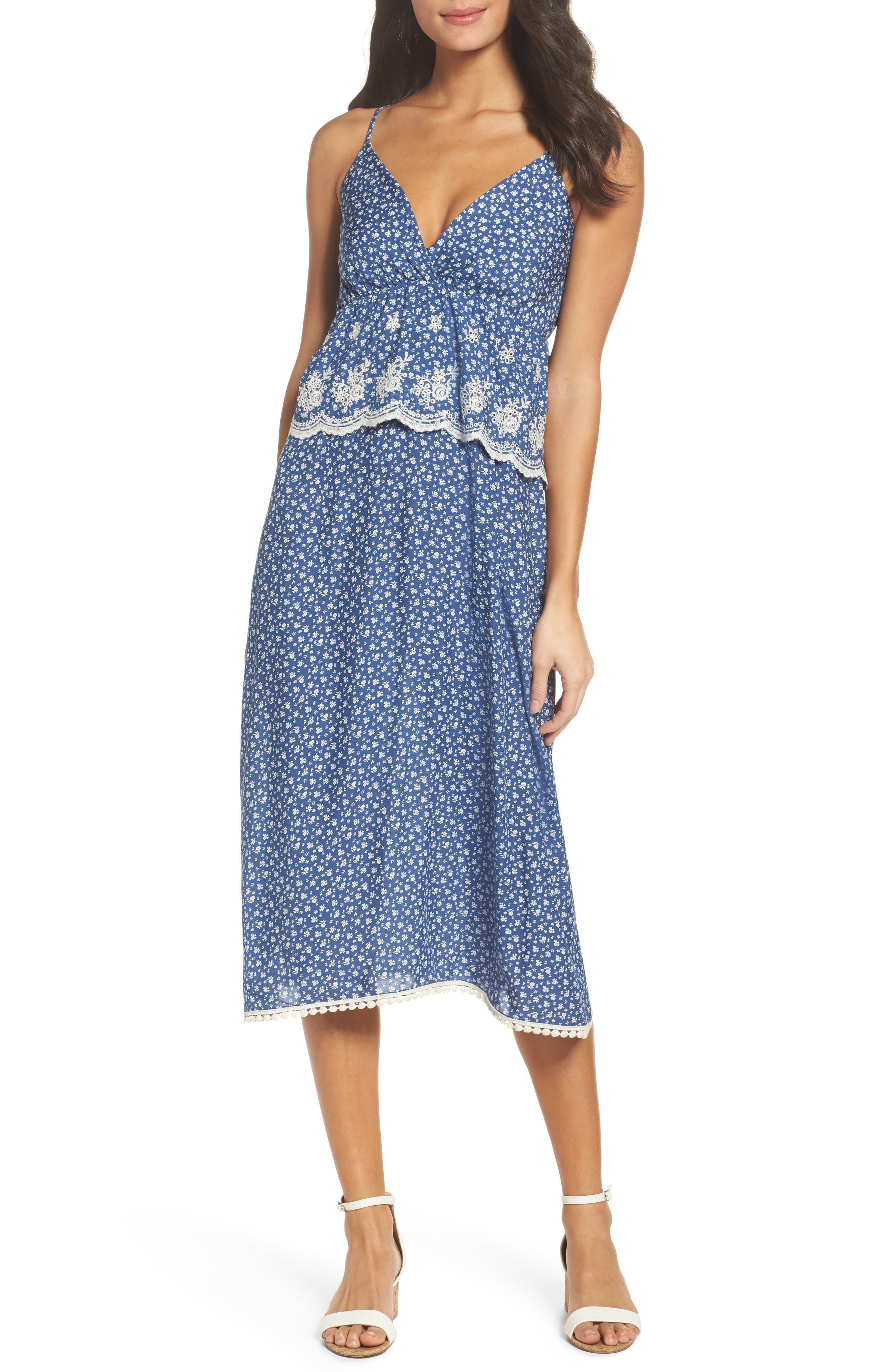 Embroidered Midi Dress,                         Main,                         color, Victoria