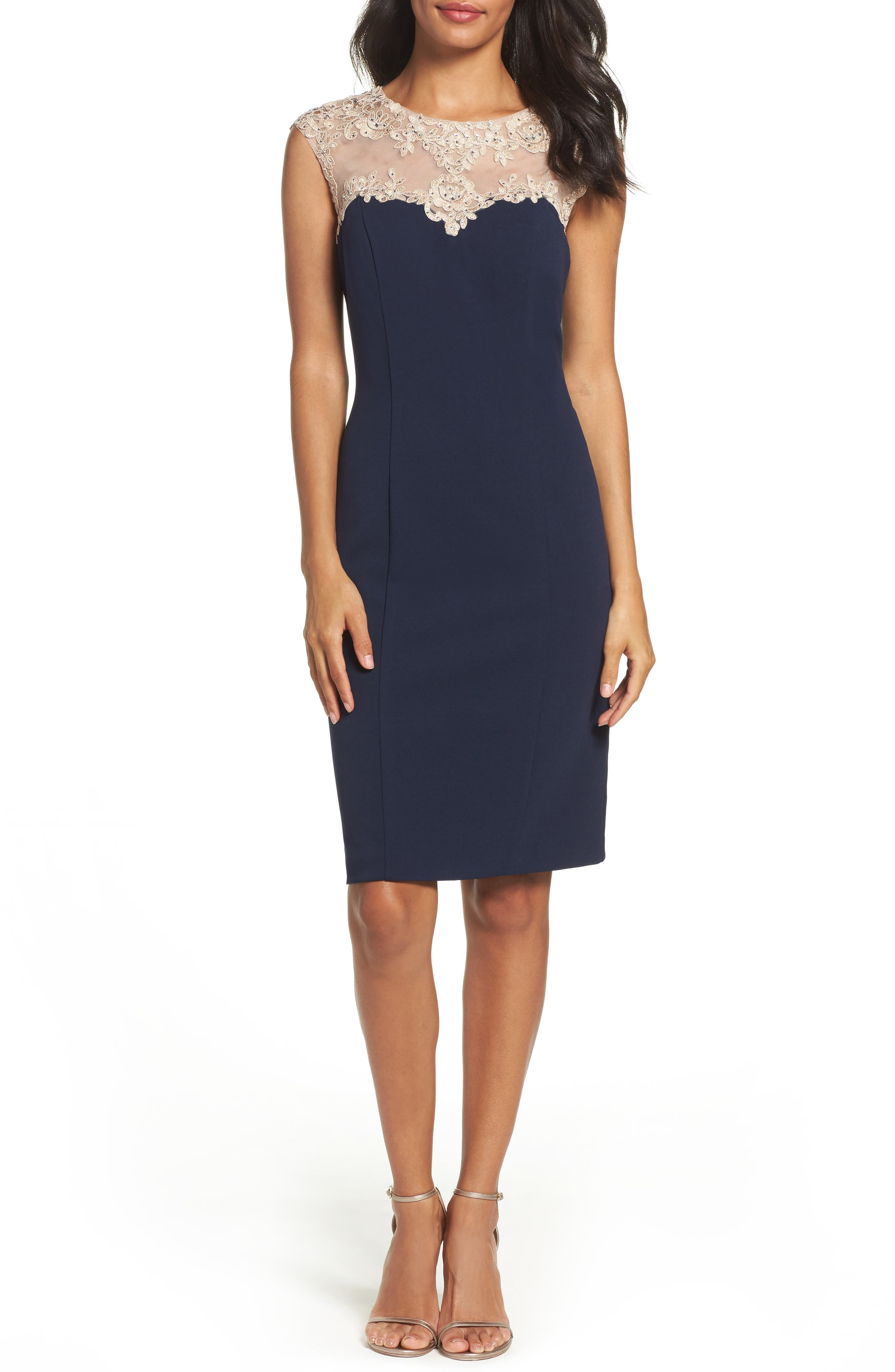 Embellished Sheath Dress,                             Main thumbnail 1, color,                             Navy/ Nude