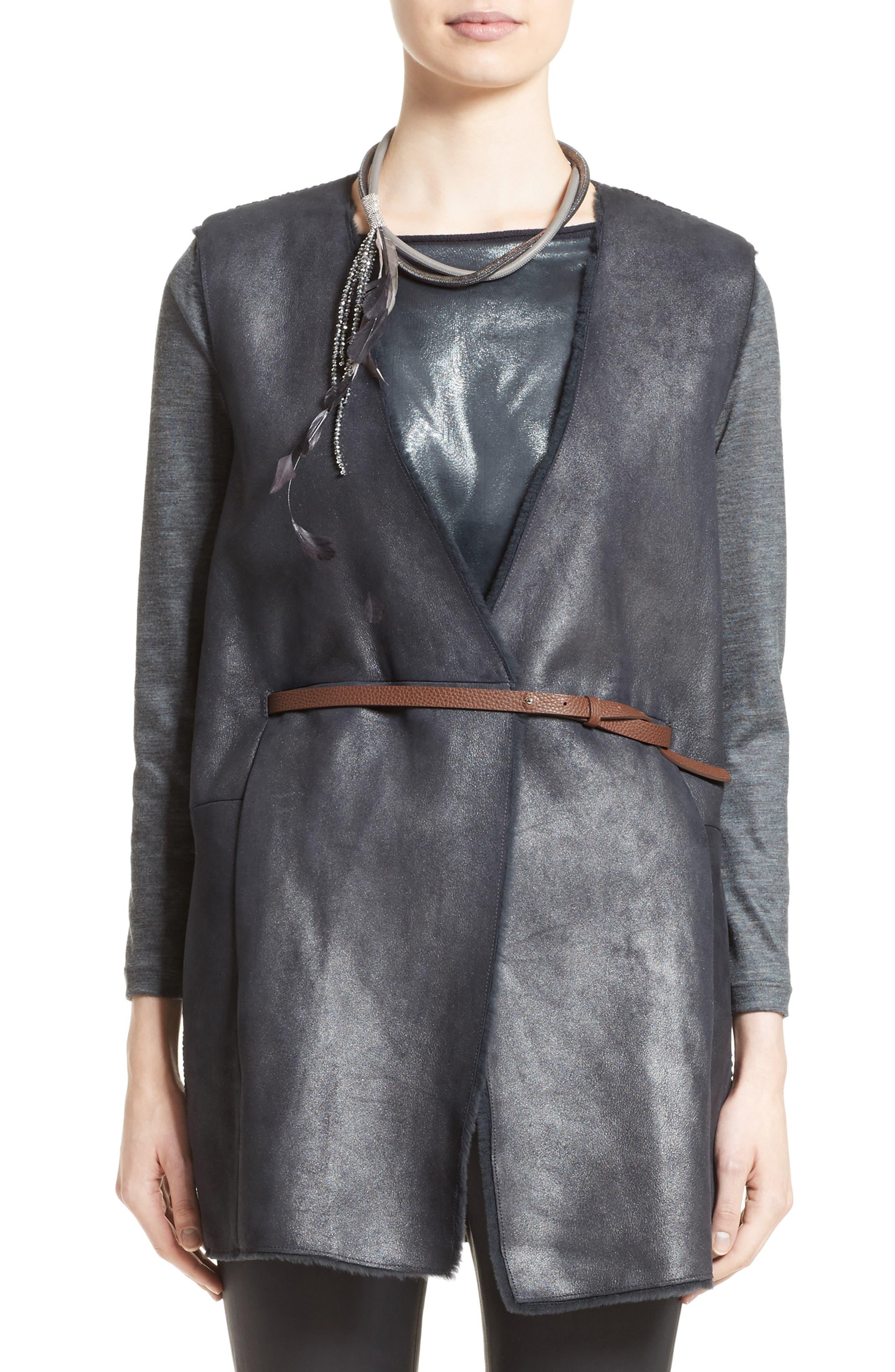 Genuine Shearling Front Knit Vest,                         Main,                         color, Navy