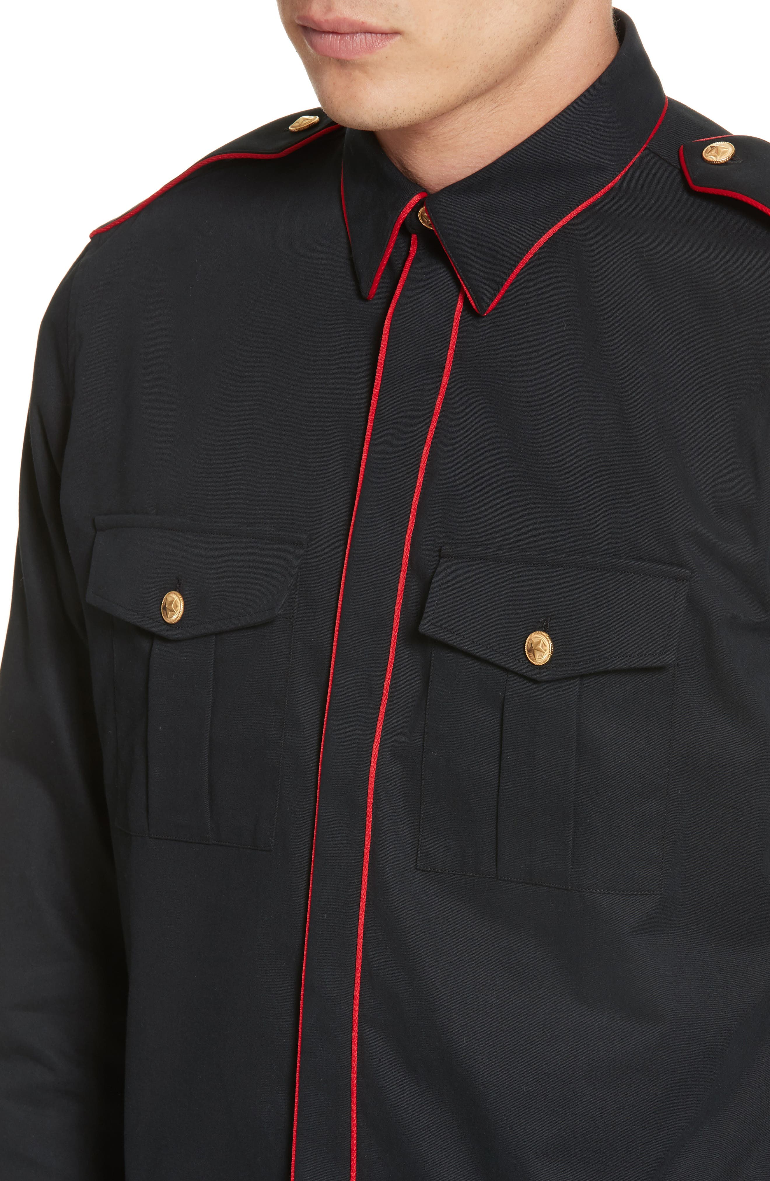 Piped Officer Shirt,                             Alternate thumbnail 4, color,                             Black