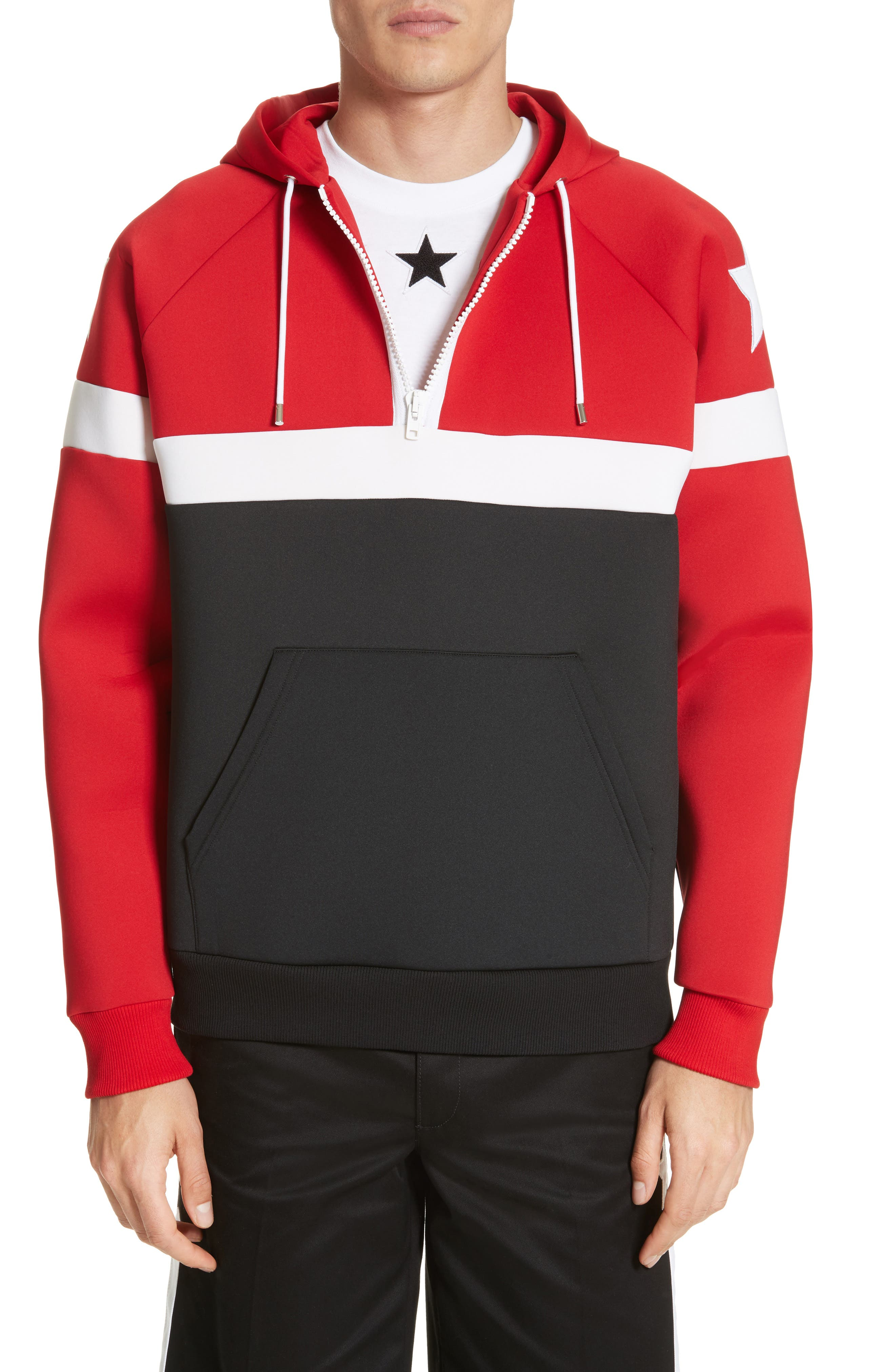 Colorblock Hoodie,                         Main,                         color, Red