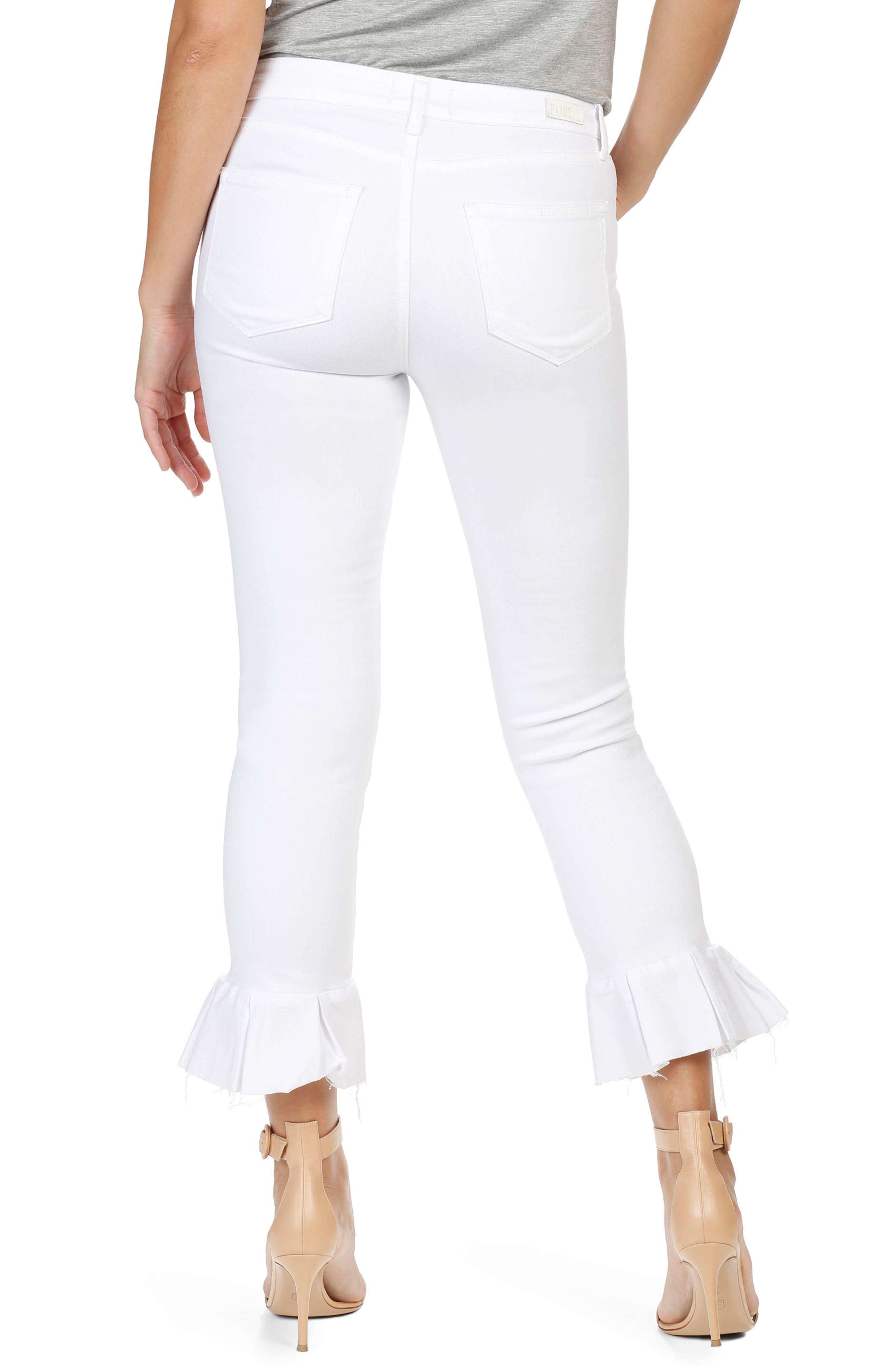 Alternate Image 3  - PAIGE Rafaela High Waist Raw Hem Ankle Ultra Skinny Jeans (Optic White)