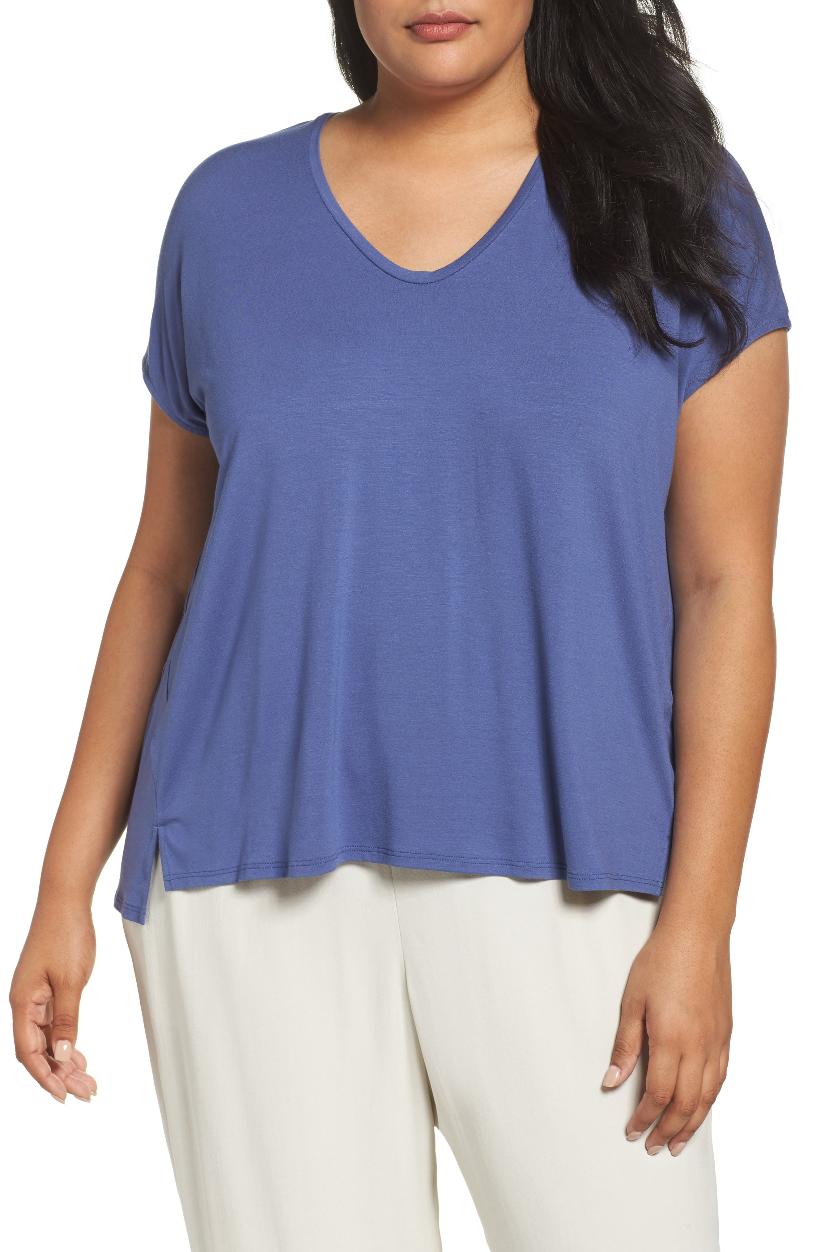 Eileen Fisher Lightweight Jersey Tee (Plus Size)